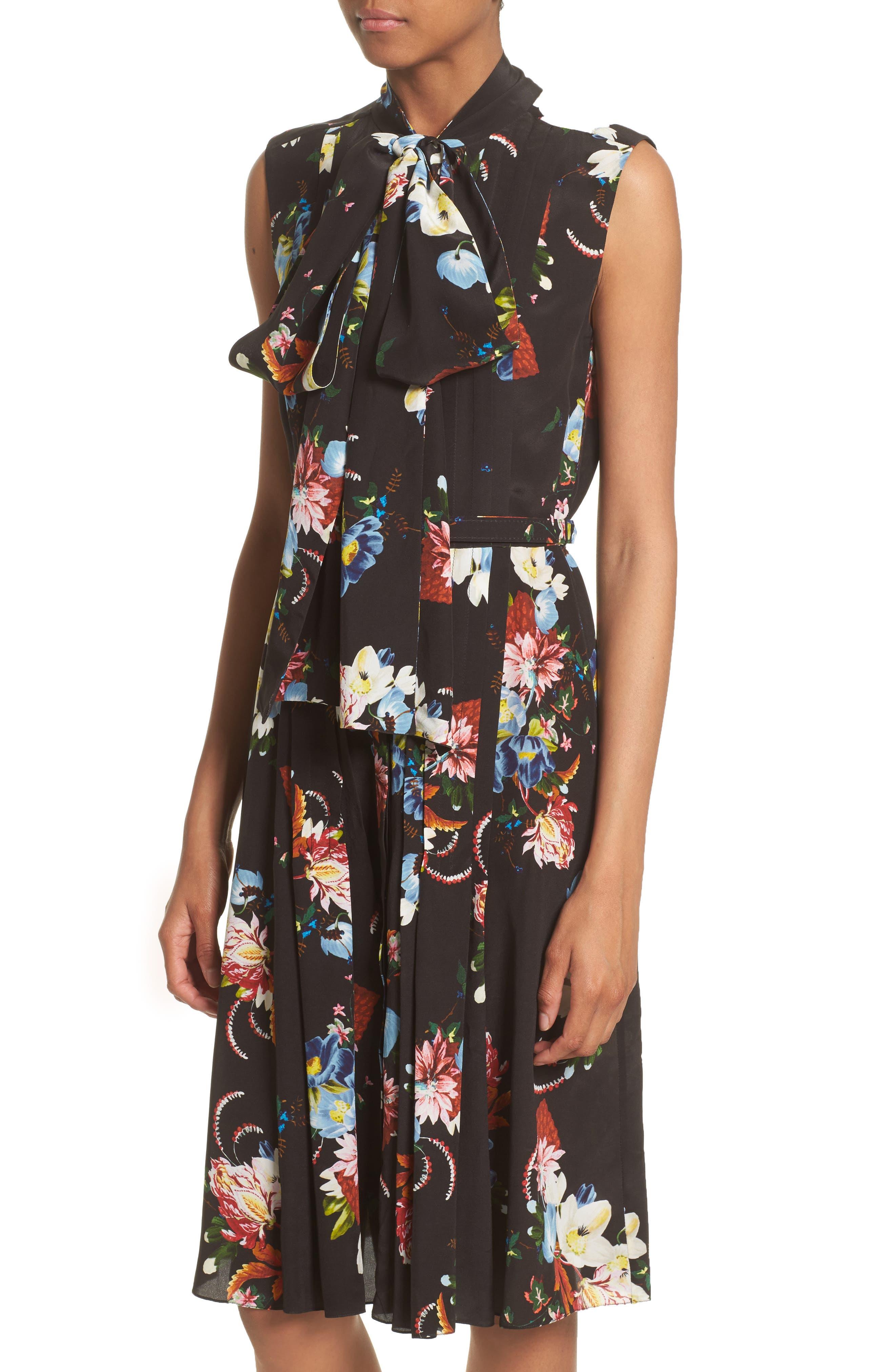Richelle Tie Neck Floral Print Silk Crêpe de Chine Dress,                             Alternate thumbnail 4, color,                             001