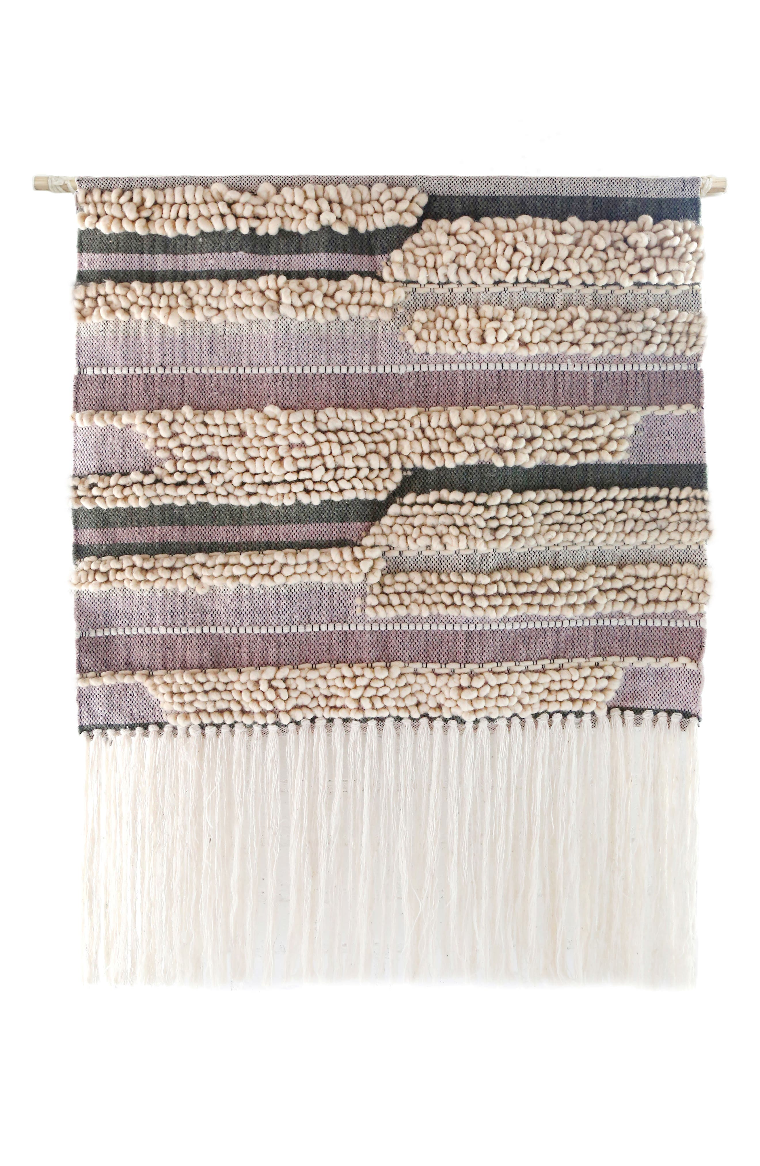 Safi Handwoven Wool Wall Hanging,                         Main,                         color, IVORY/ BERRY/ MOSS