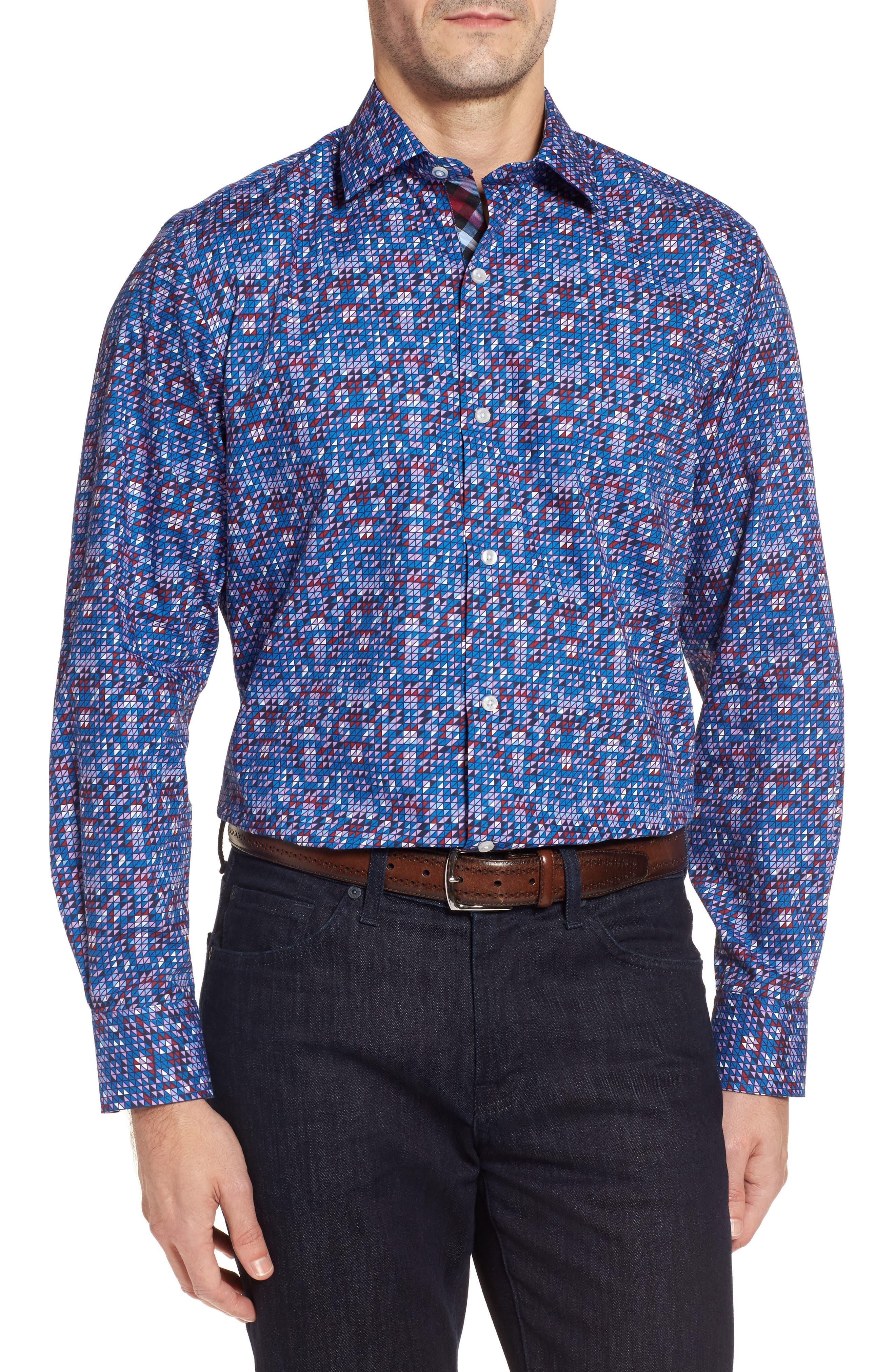 Bryceland Regular Fit Print Sport Shirt,                         Main,                         color, 430