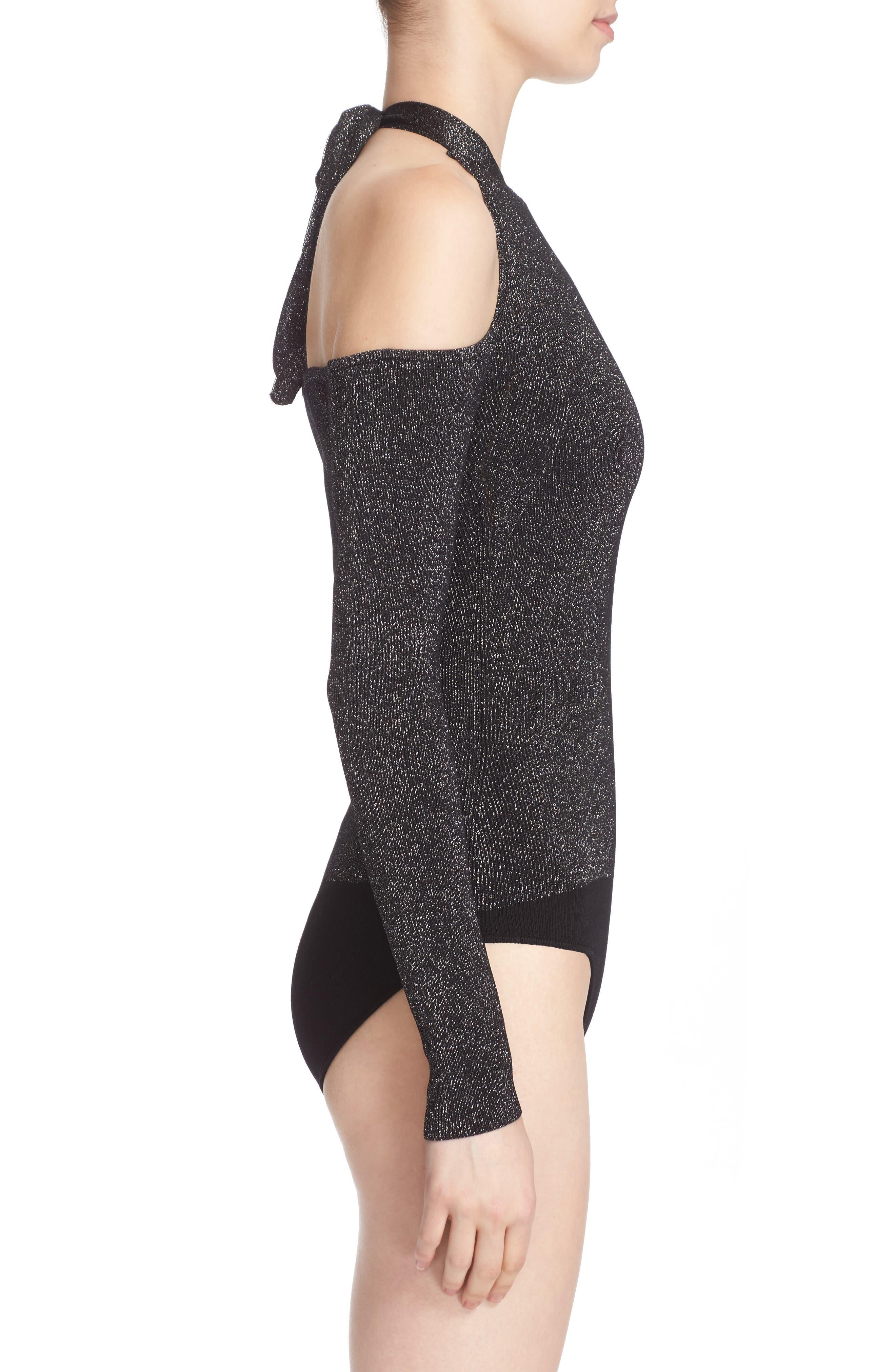 Knit Cold Shoulder Bodysuit,                             Alternate thumbnail 4, color,                             001