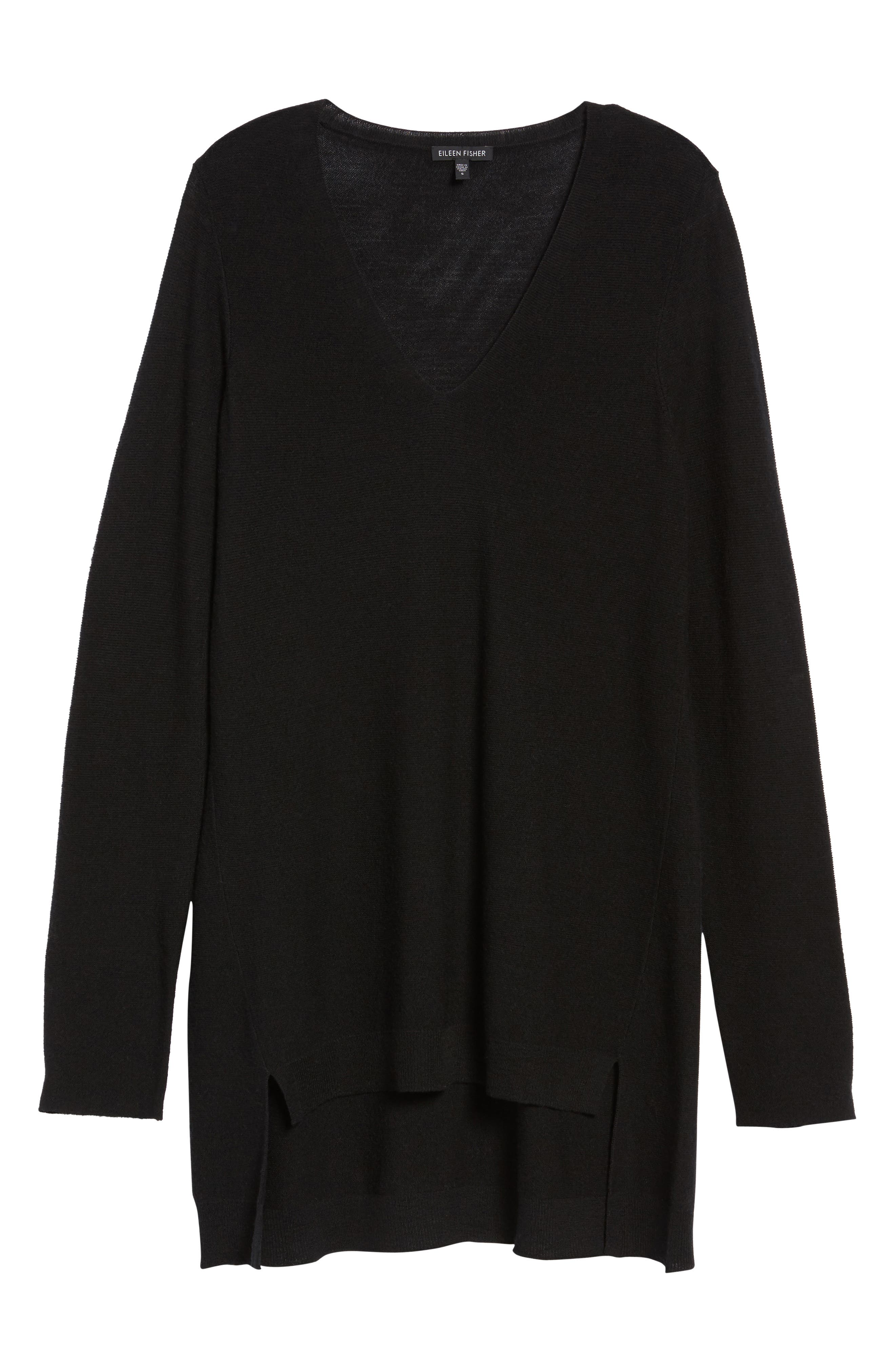 High/Low Merino Wool Sweater,                             Alternate thumbnail 6, color,                             001