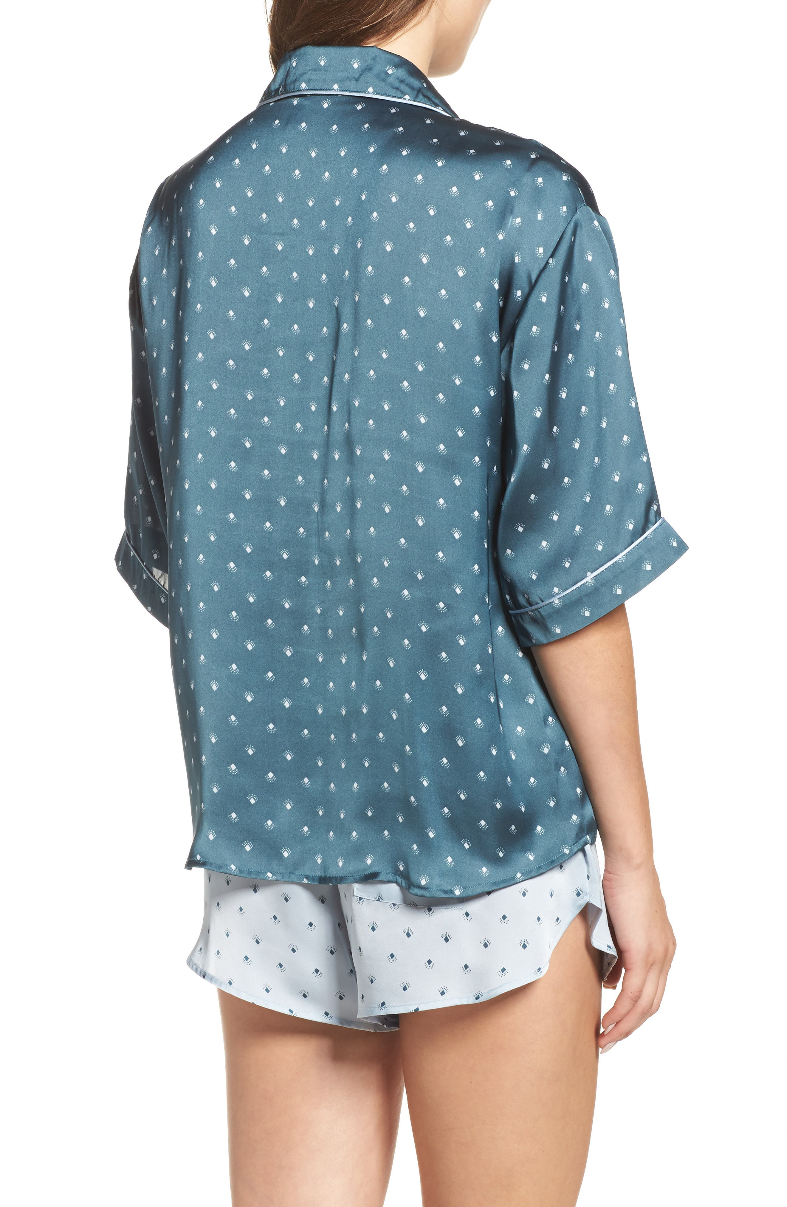 Short Satin Pajamas,                             Alternate thumbnail 5, color,