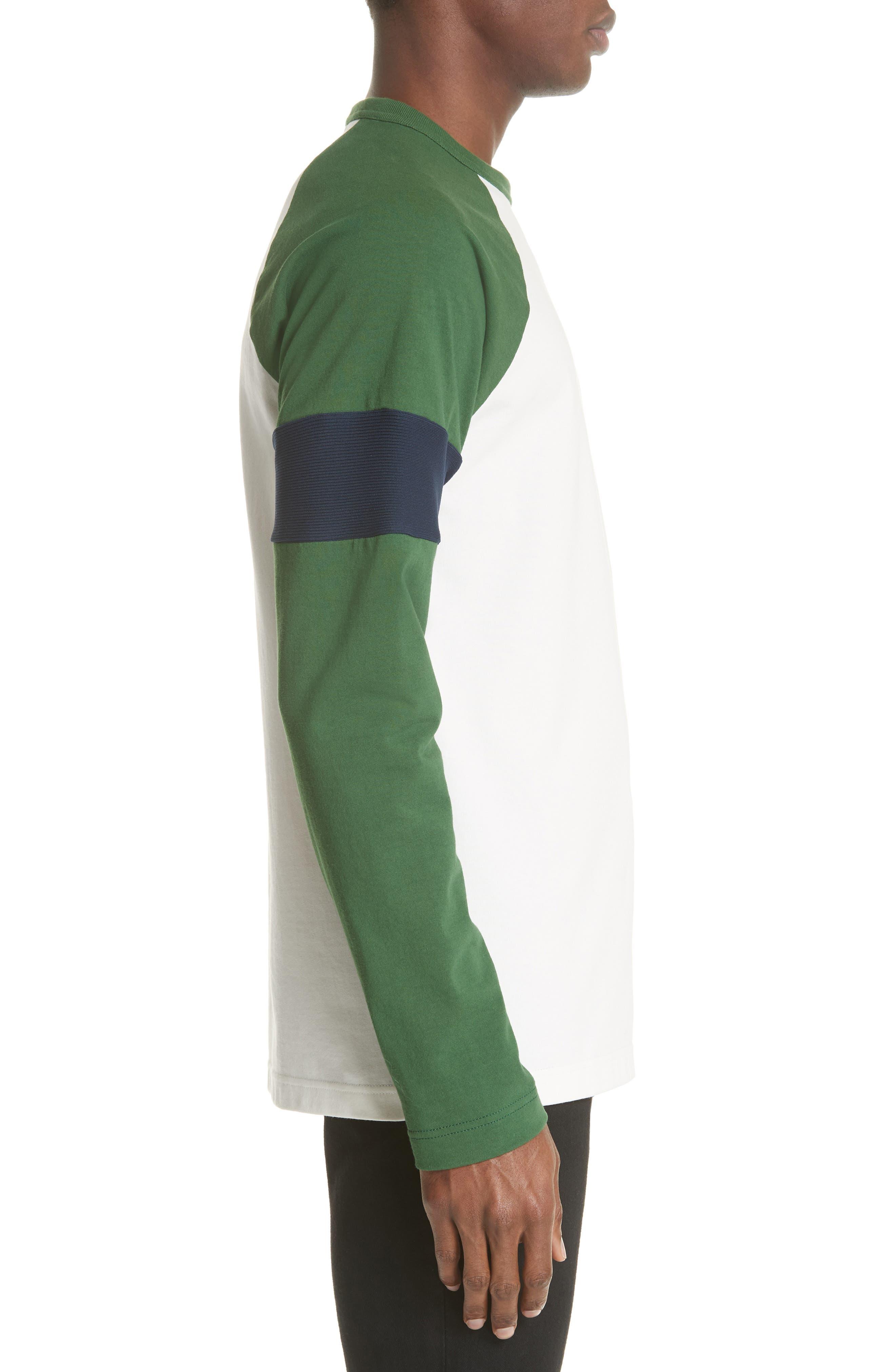 Long Sleeve Varsity T-Shirt,                             Alternate thumbnail 3, color,                             WHITE