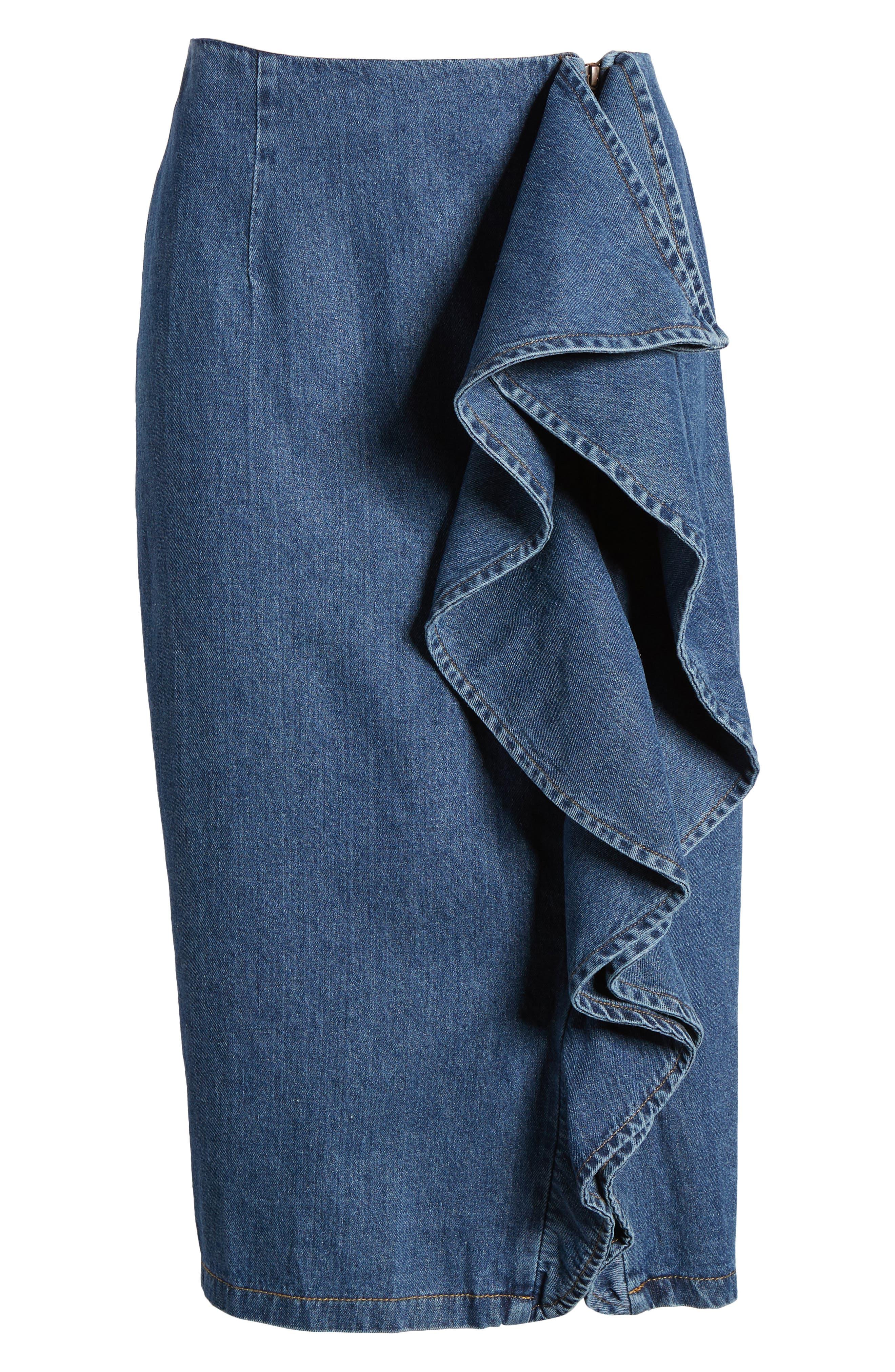 Side Ruffle Denim Pencil Skirt,                             Alternate thumbnail 7, color,                             400