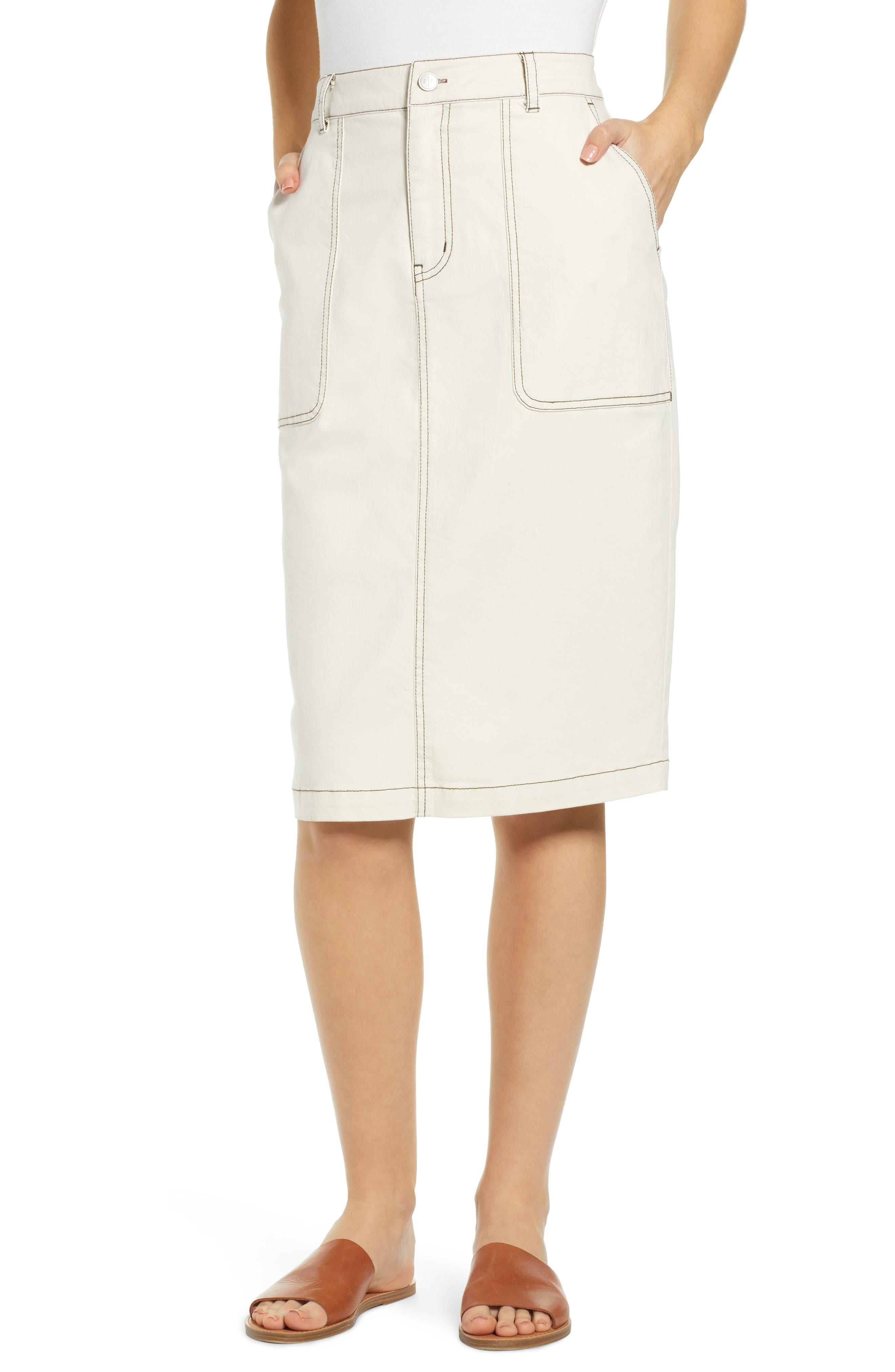 Plus Size Bp. Contrast Stitch Utility Midi Skirt, Size - Ivory