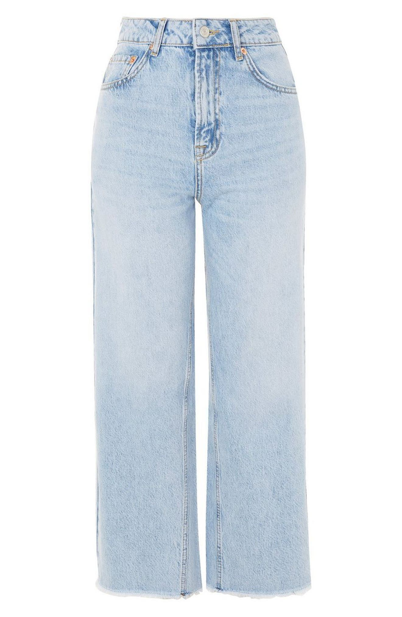 TOPSHOP,                             MOTO Wide Leg Crop Non-Stretch Jeans,                             Alternate thumbnail 3, color,                             450