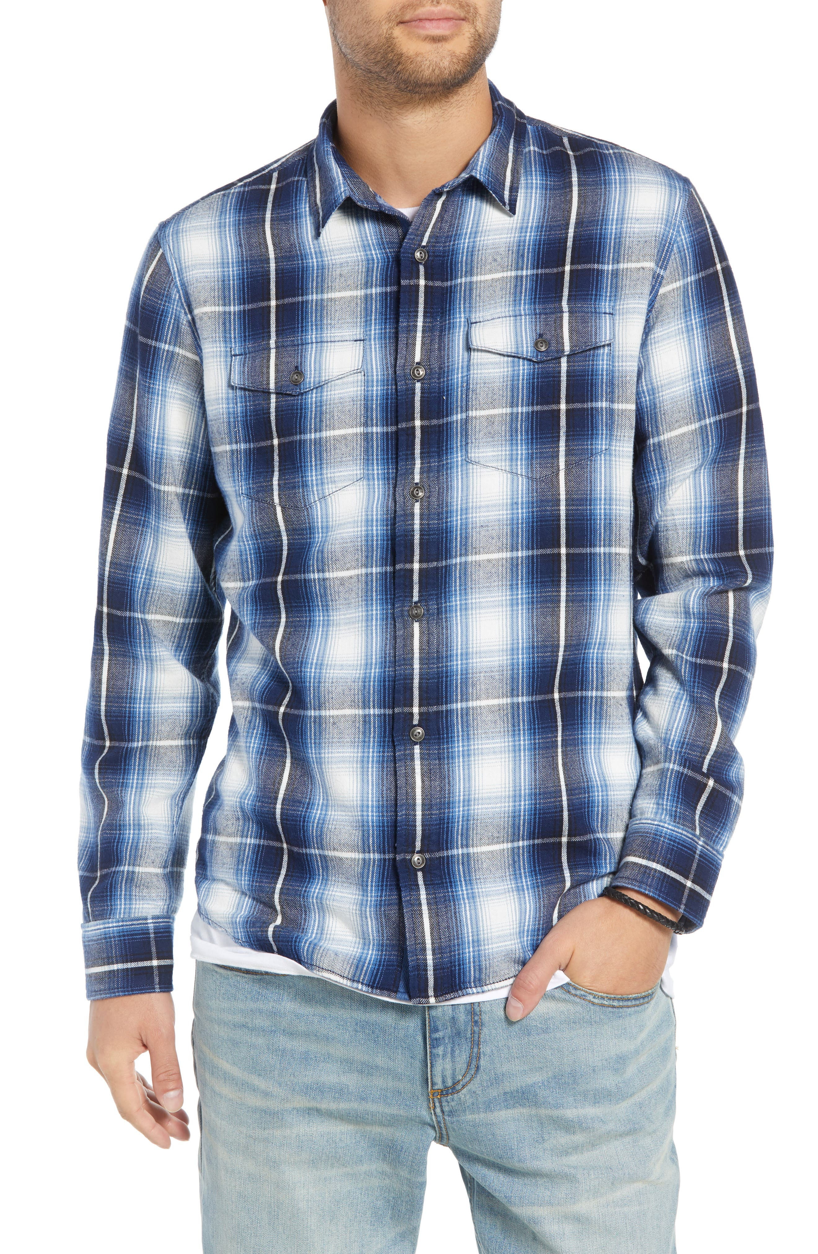 Slim Fit Plaid Flap Pocket Sport Shirt,                         Main,                         color, BLUE CASPIA RIVER PLAID