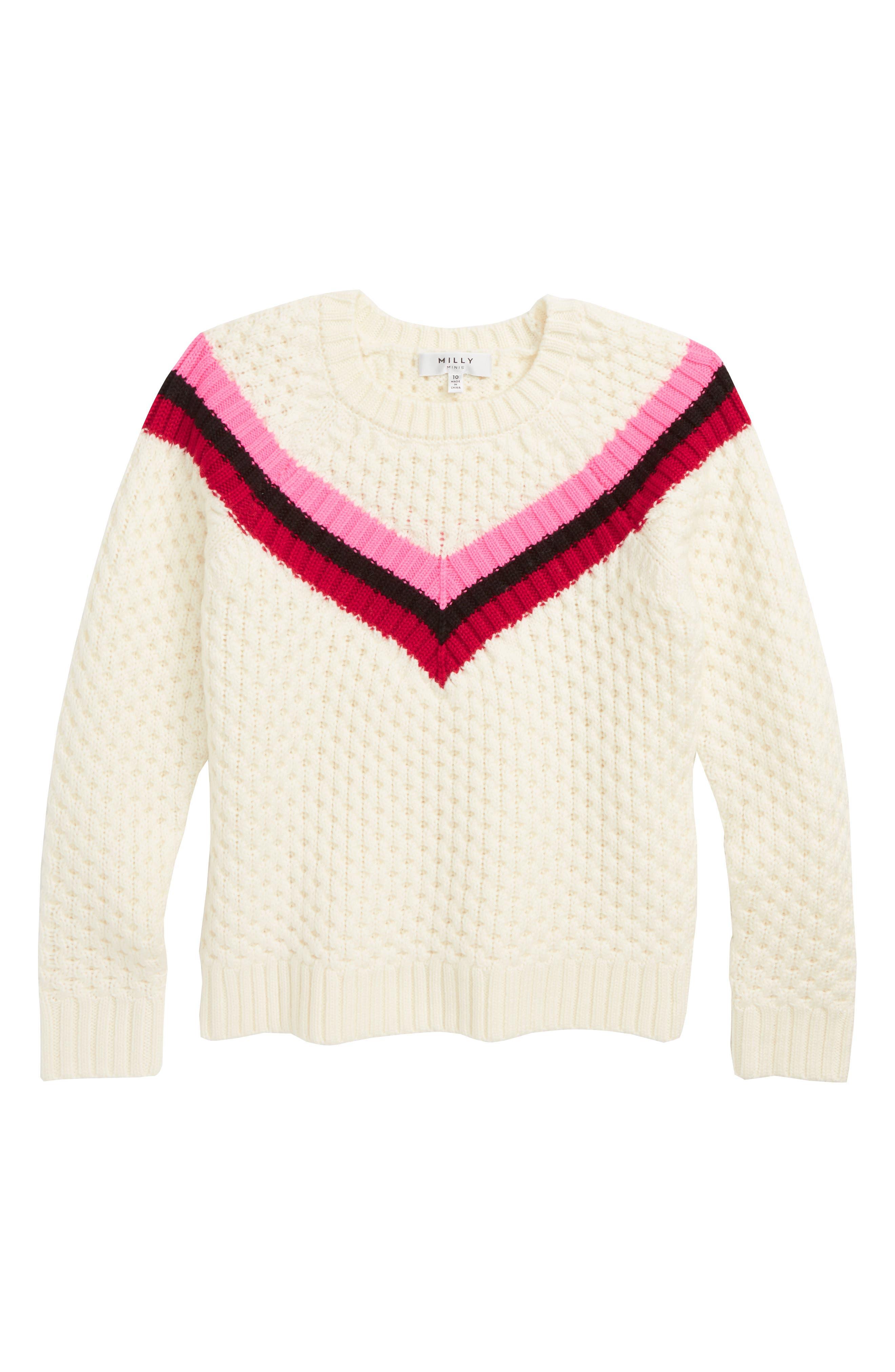 Varsity Stripe Popcorn Stitch Merino Wool Sweater,                             Main thumbnail 1, color,                             WHITE