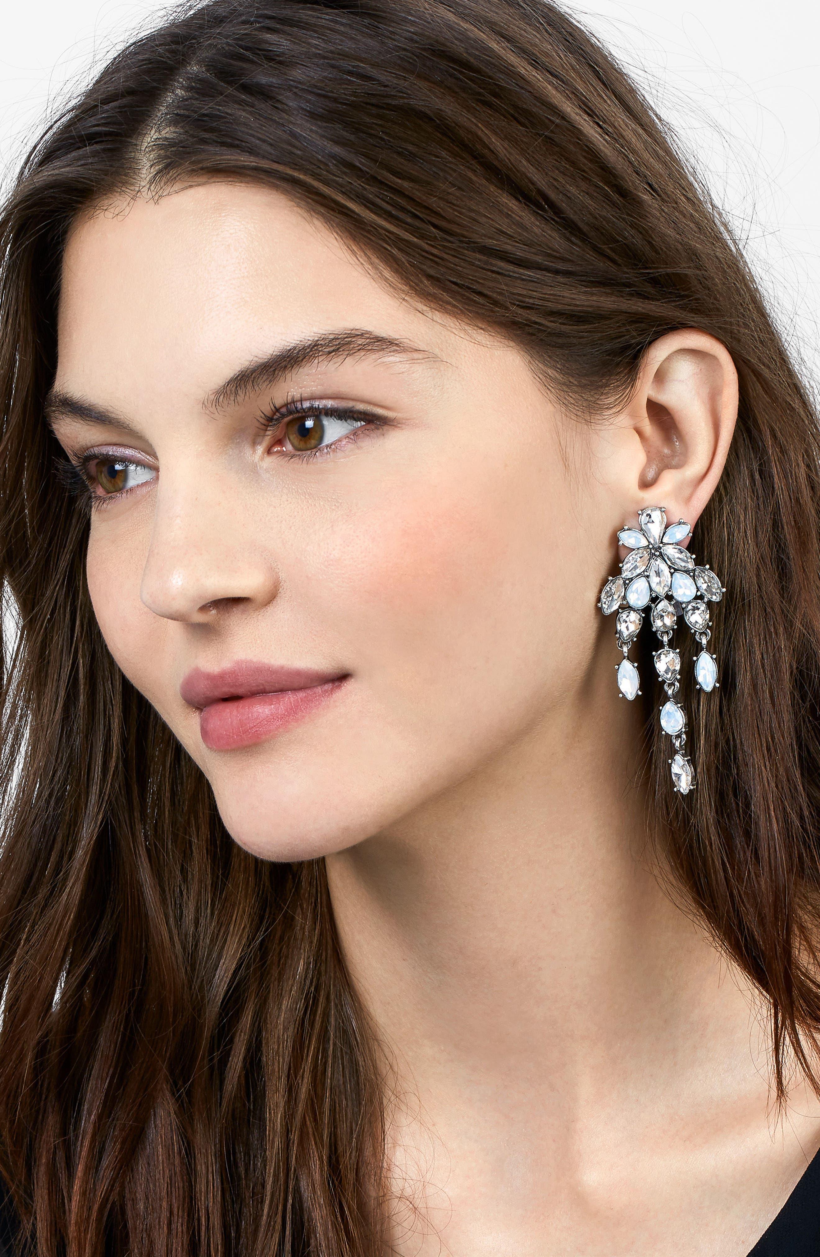 Chandelier Crystal Drop Earrings,                             Alternate thumbnail 2, color,