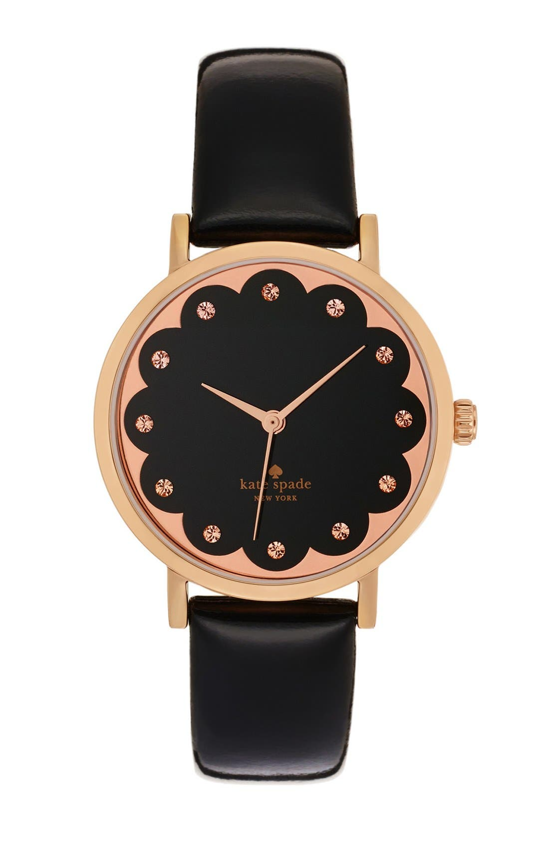 'metro' scallop dial leather strap watch, 34mm, Main, color, 001
