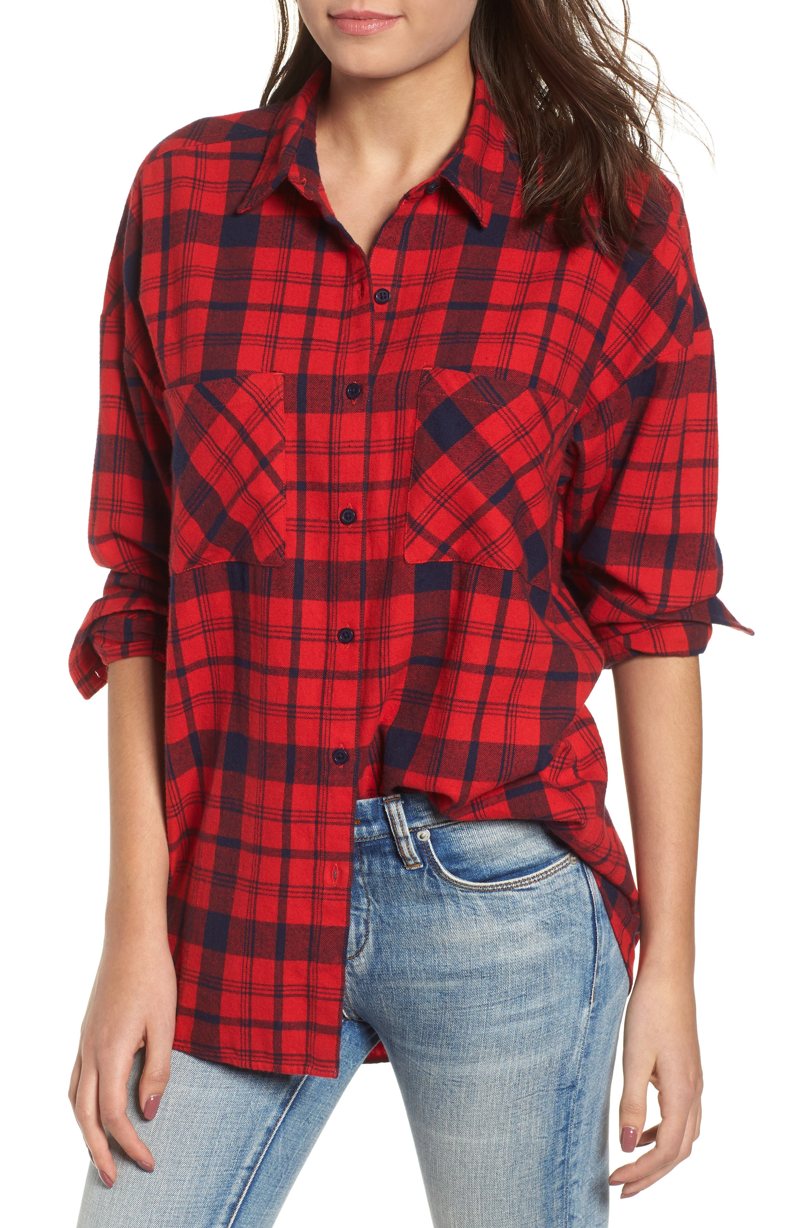 Bp. Plaid Flannel Cocoon Shirt, Red
