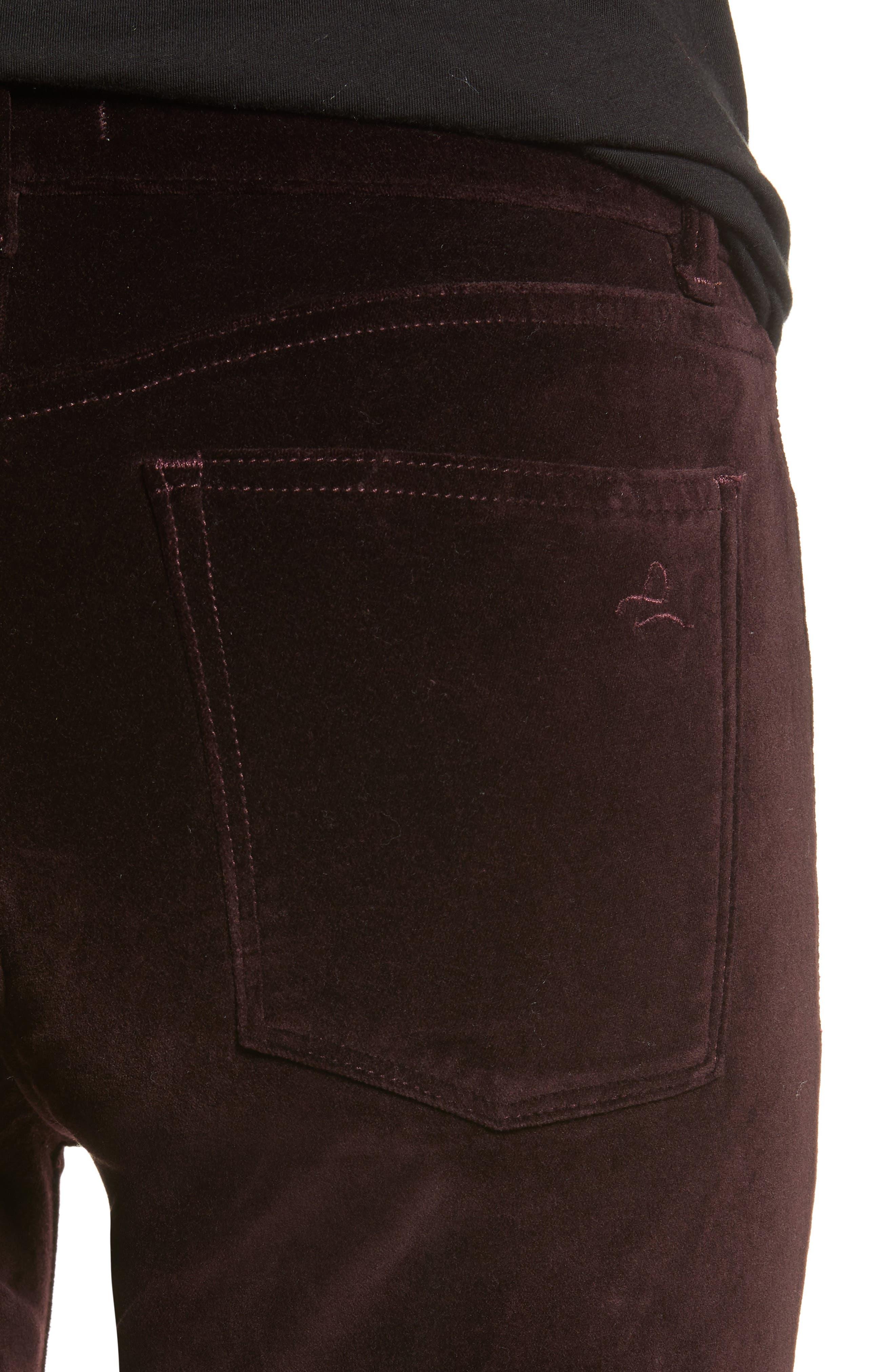 Margaux Instasculpt Ankle Skinny Velvet Pants,                             Alternate thumbnail 4, color,                             DARK PURPLE