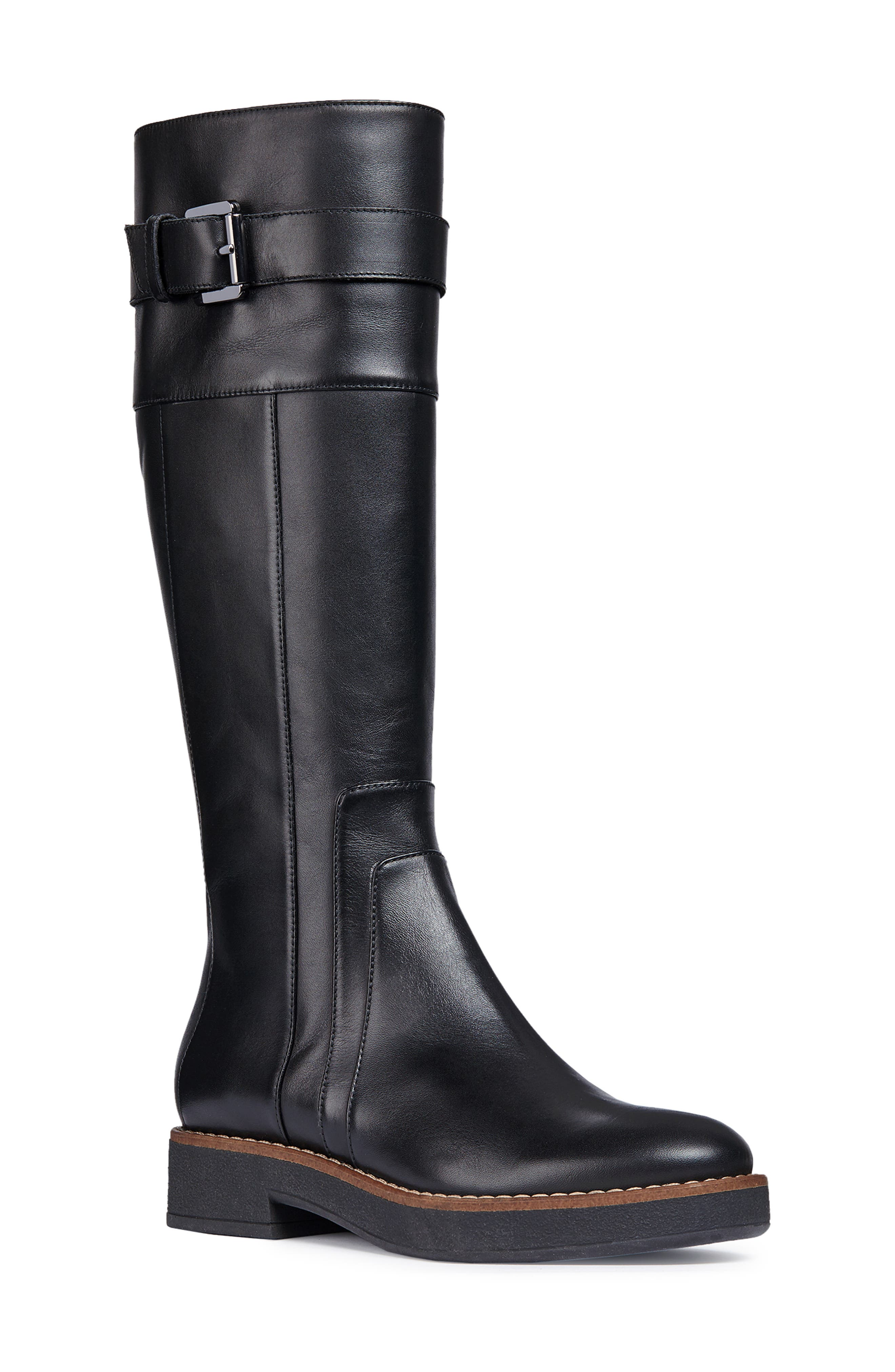 Adrya Knee High Boot,                             Main thumbnail 1, color,                             BLACK LEATHER