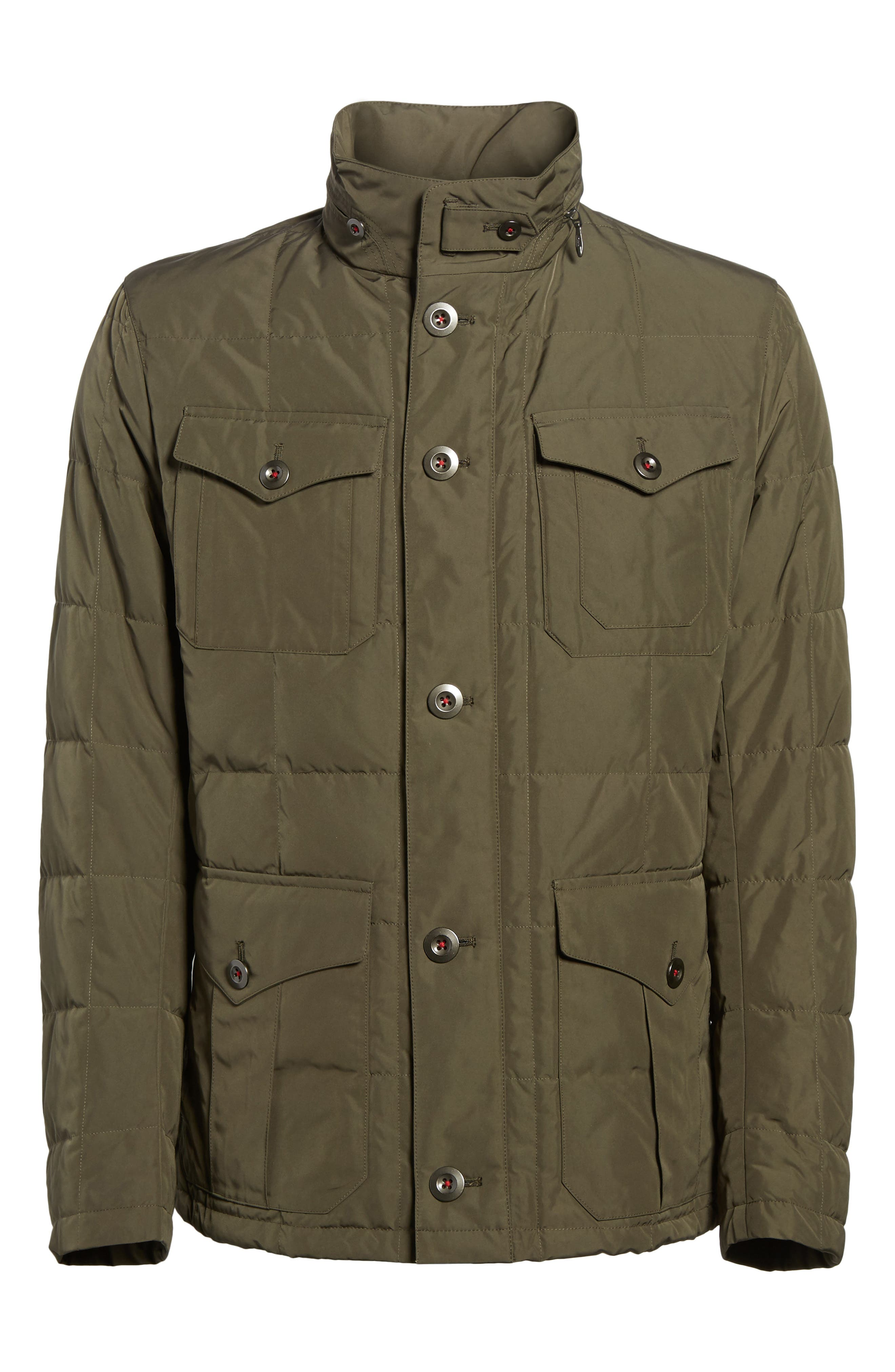 Quilted Down Field Jacket with Stowaway Hood,                             Alternate thumbnail 9, color,