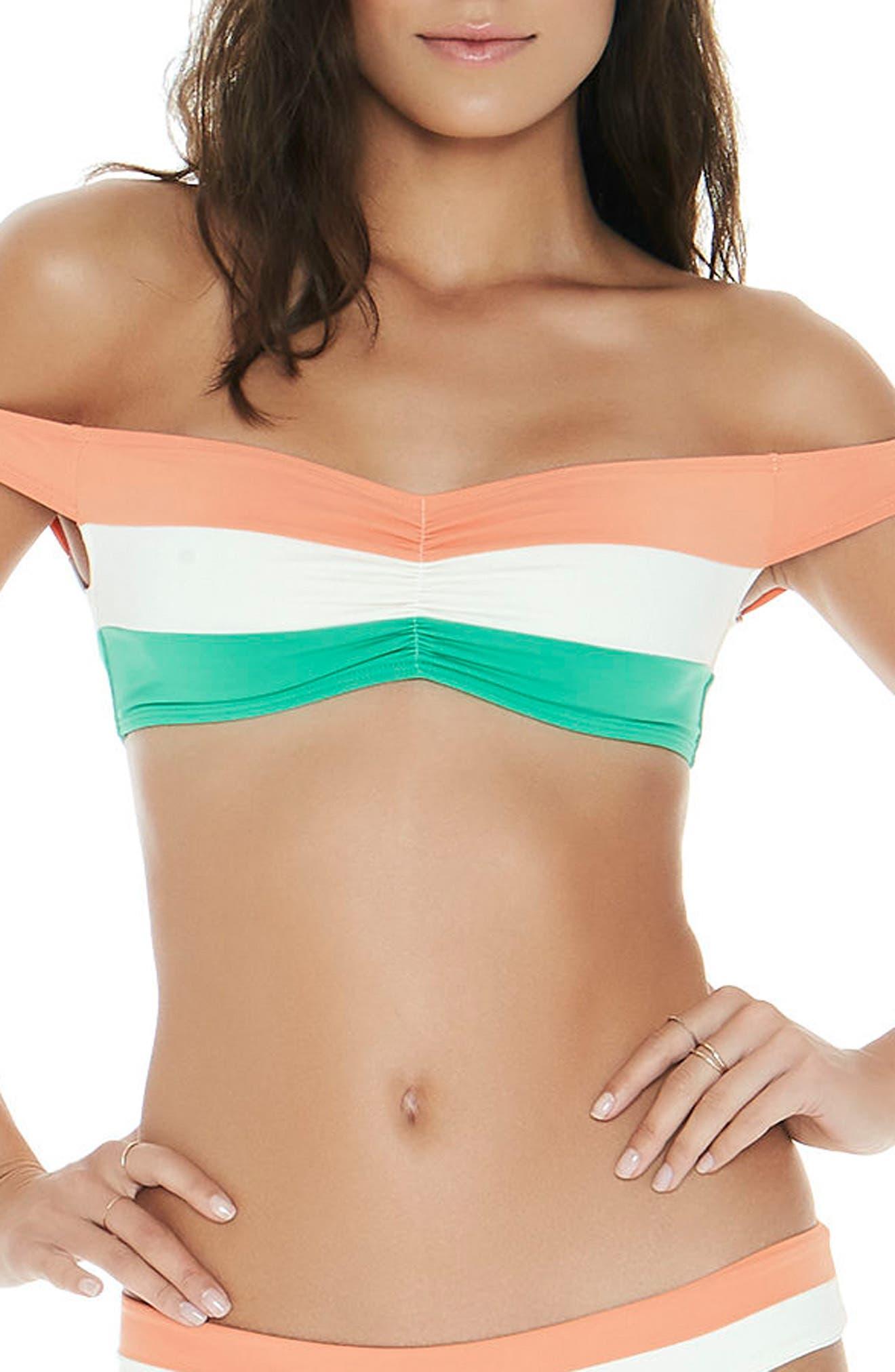 L SPACE Ziggy Off the Shoulder Bikini Top, Main, color, 900
