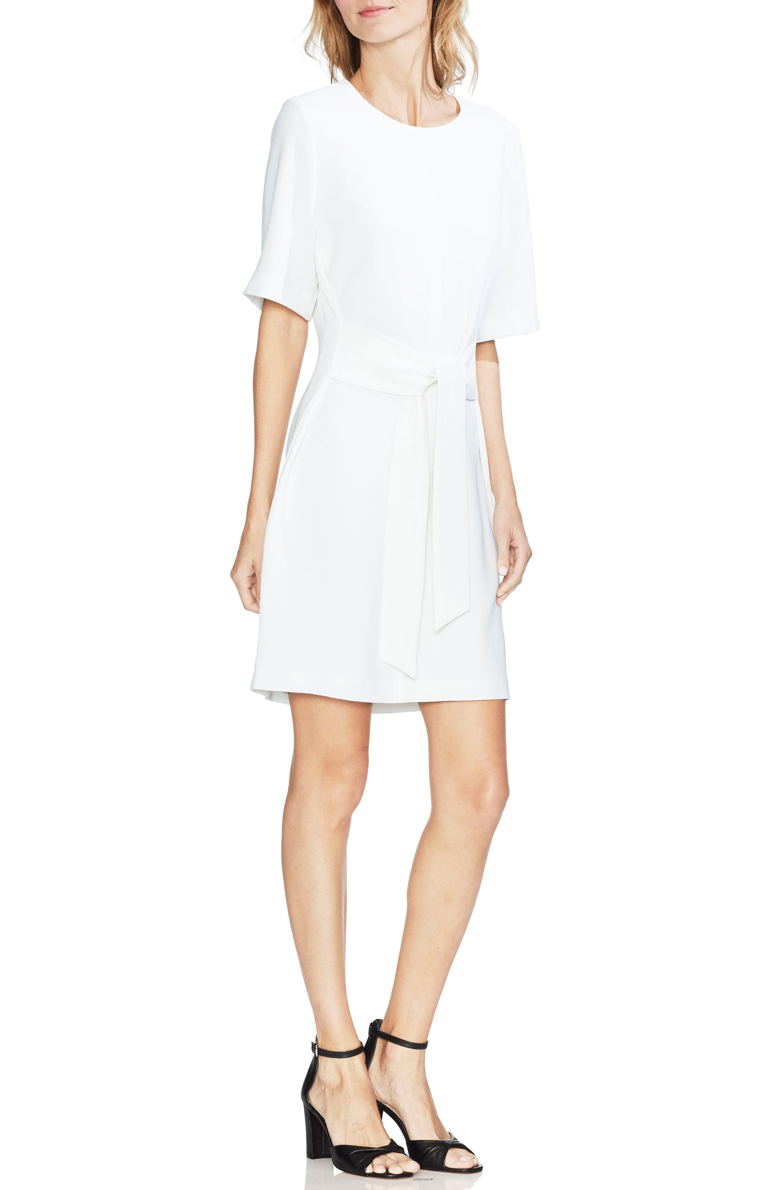 Petite Vince Camuto Belted Crepe Dress, Ivory