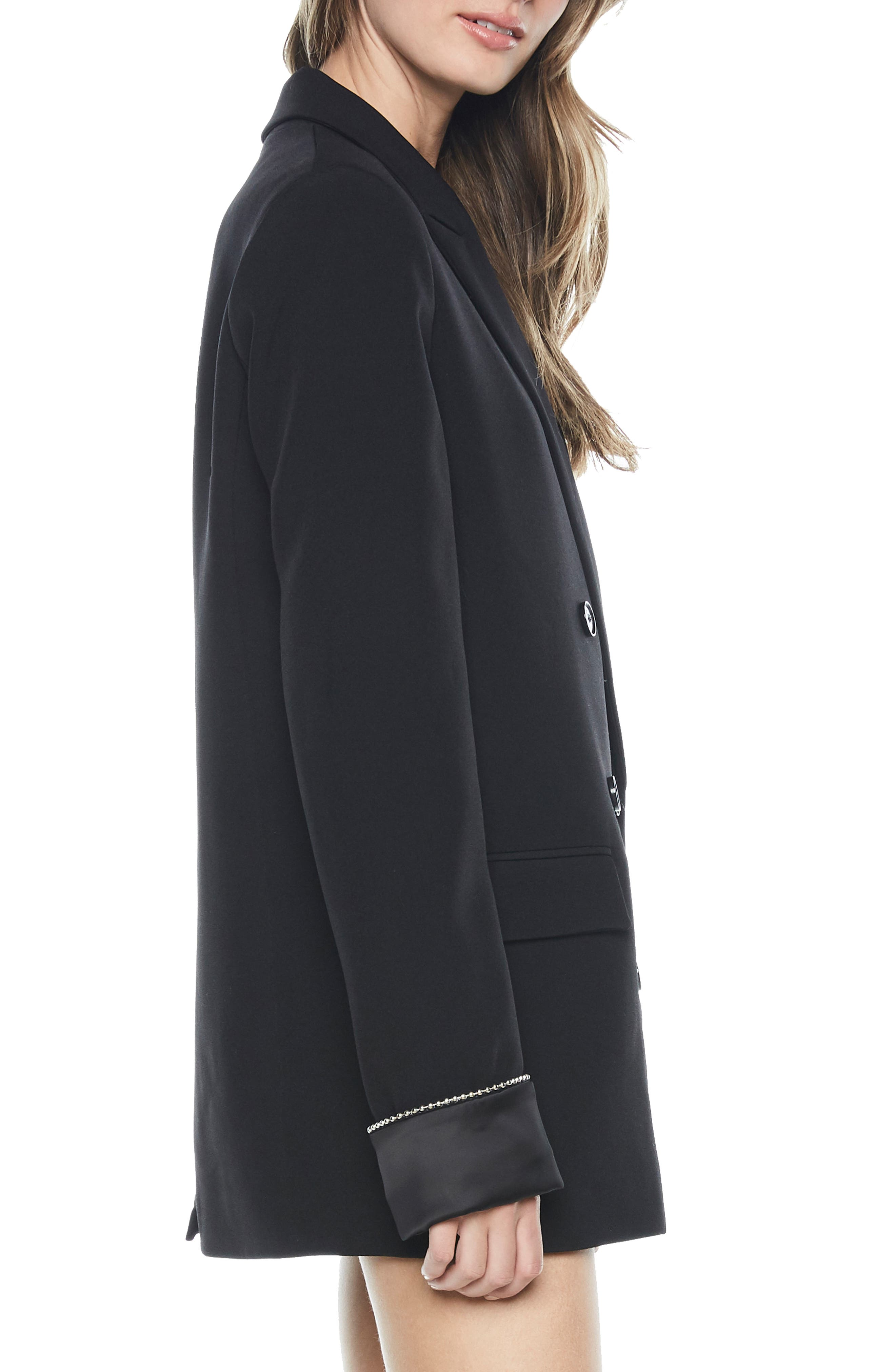 Sienna Double Breasted Jacket,                             Alternate thumbnail 3, color,                             BLACK