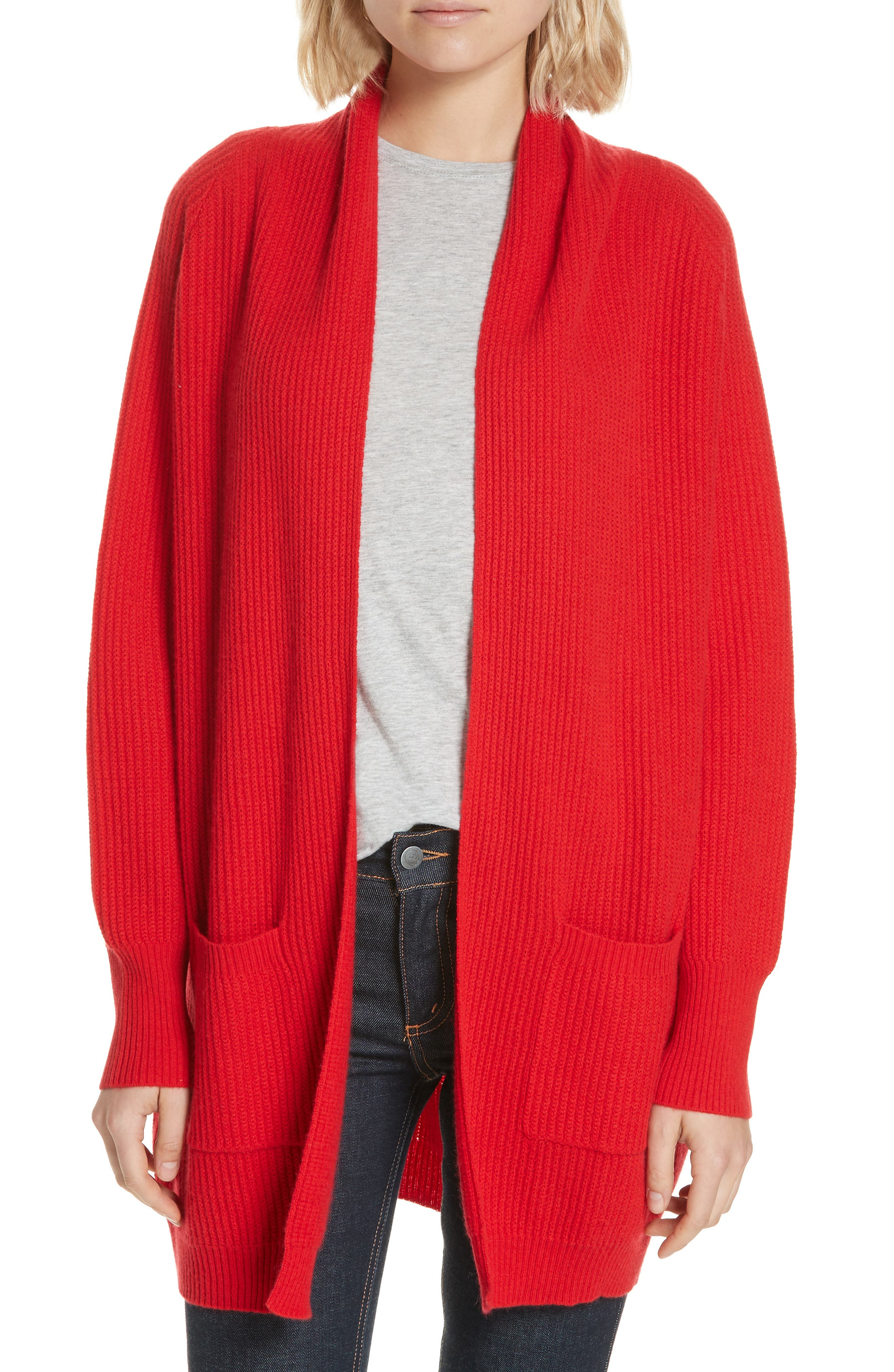 Cashmere Cardigan,                             Main thumbnail 1, color,                             RED
