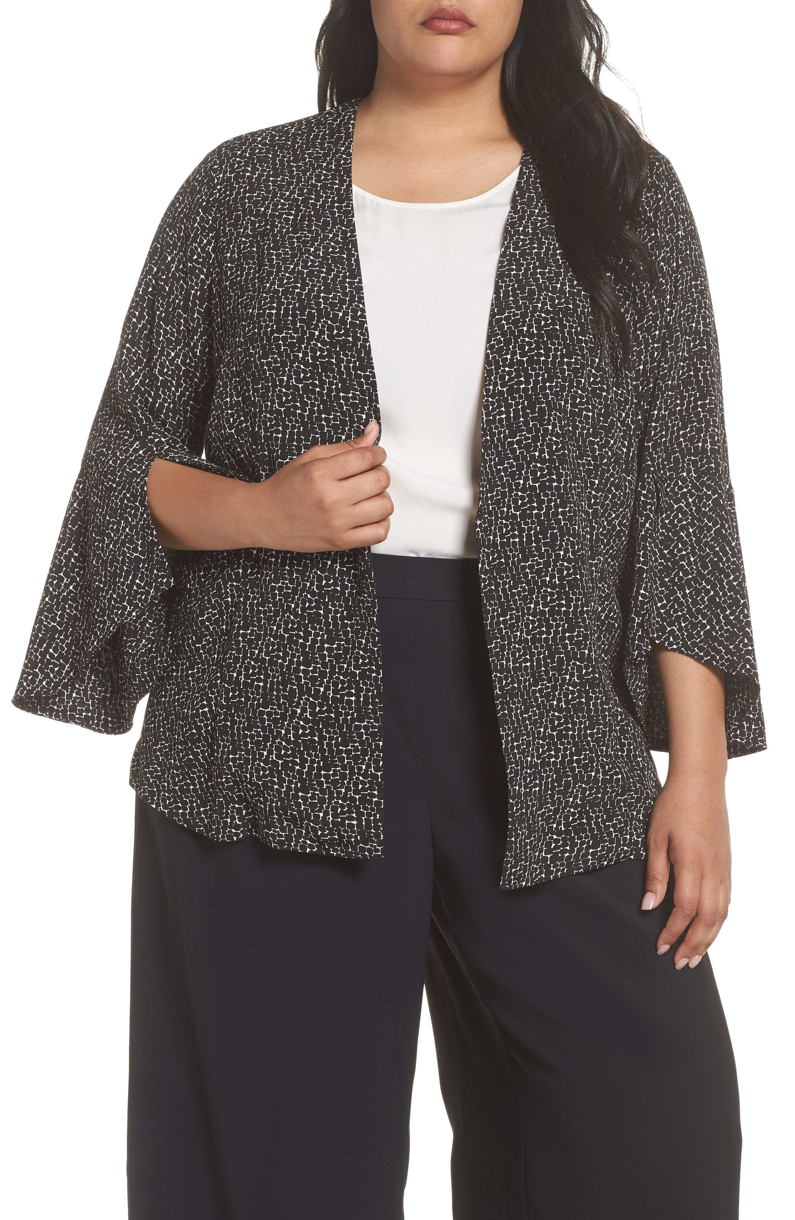 Ruffle Sleeve Soft Crepe Jacket,                         Main,                         color, BLACK-IVORY GIA PRINT