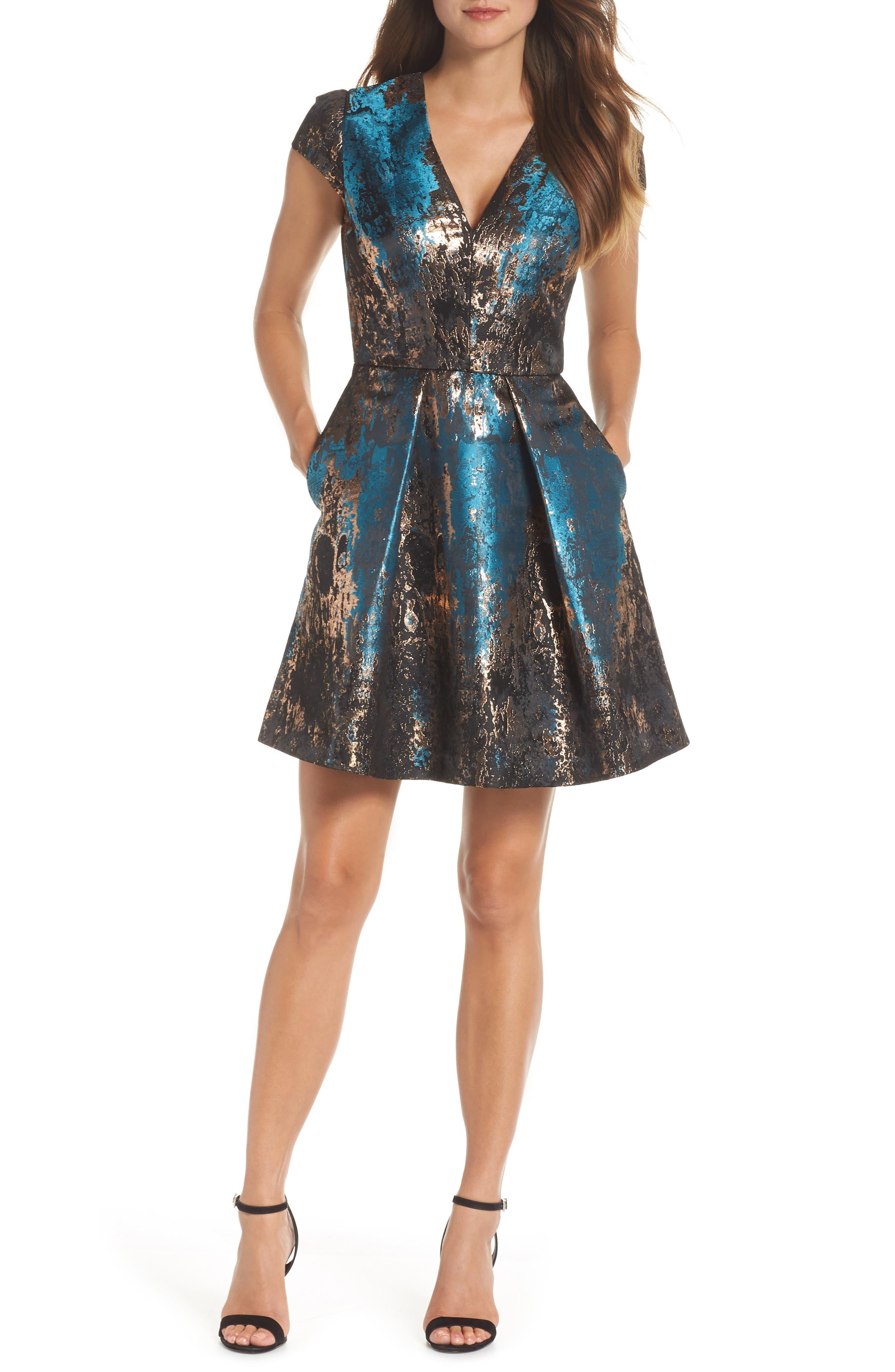 Jacquard Fit & Flare Dress,                             Main thumbnail 1, color,                             TEAL MULTI