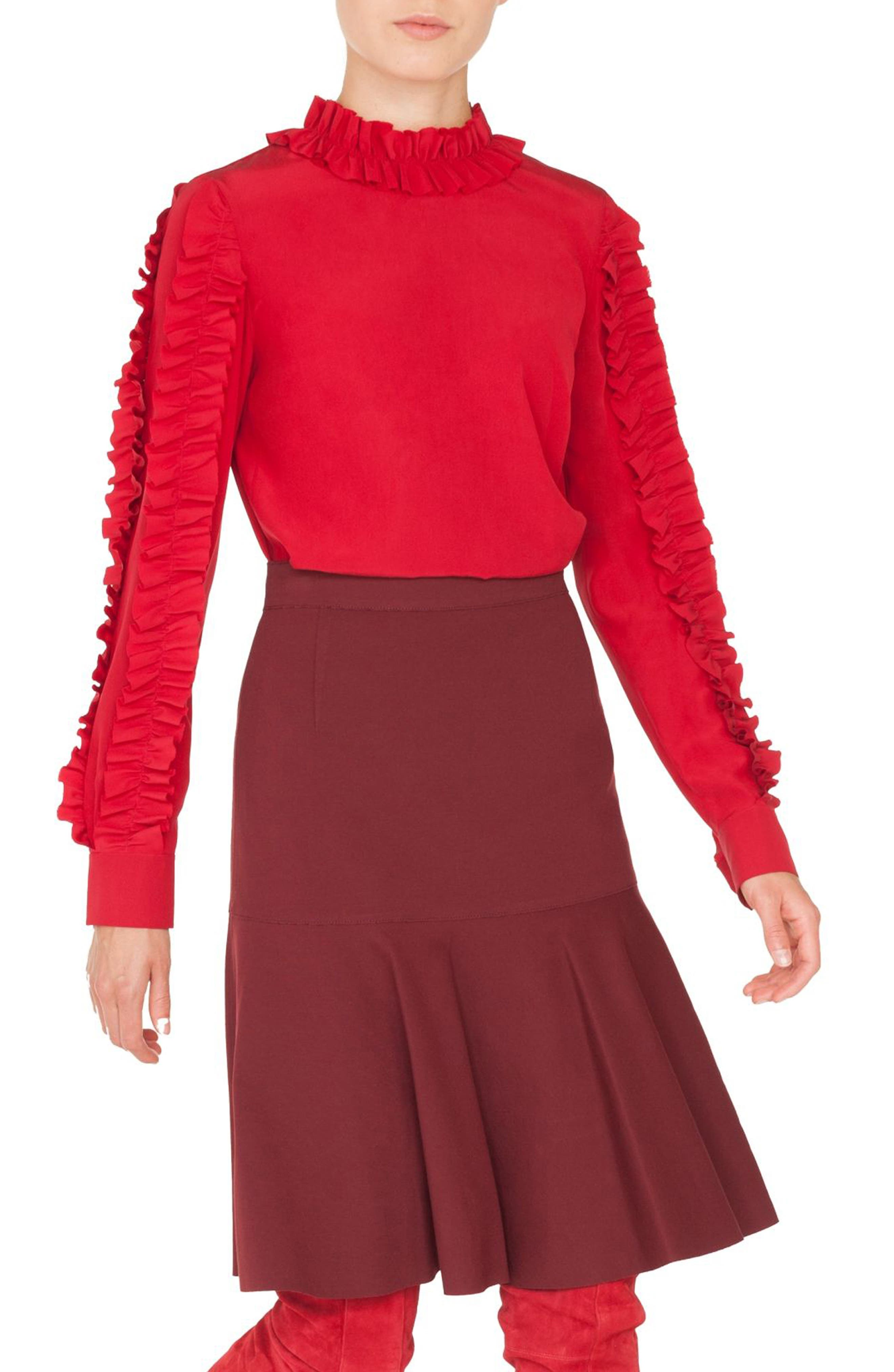 Ruched Silk Blouse,                             Alternate thumbnail 3, color,                             600