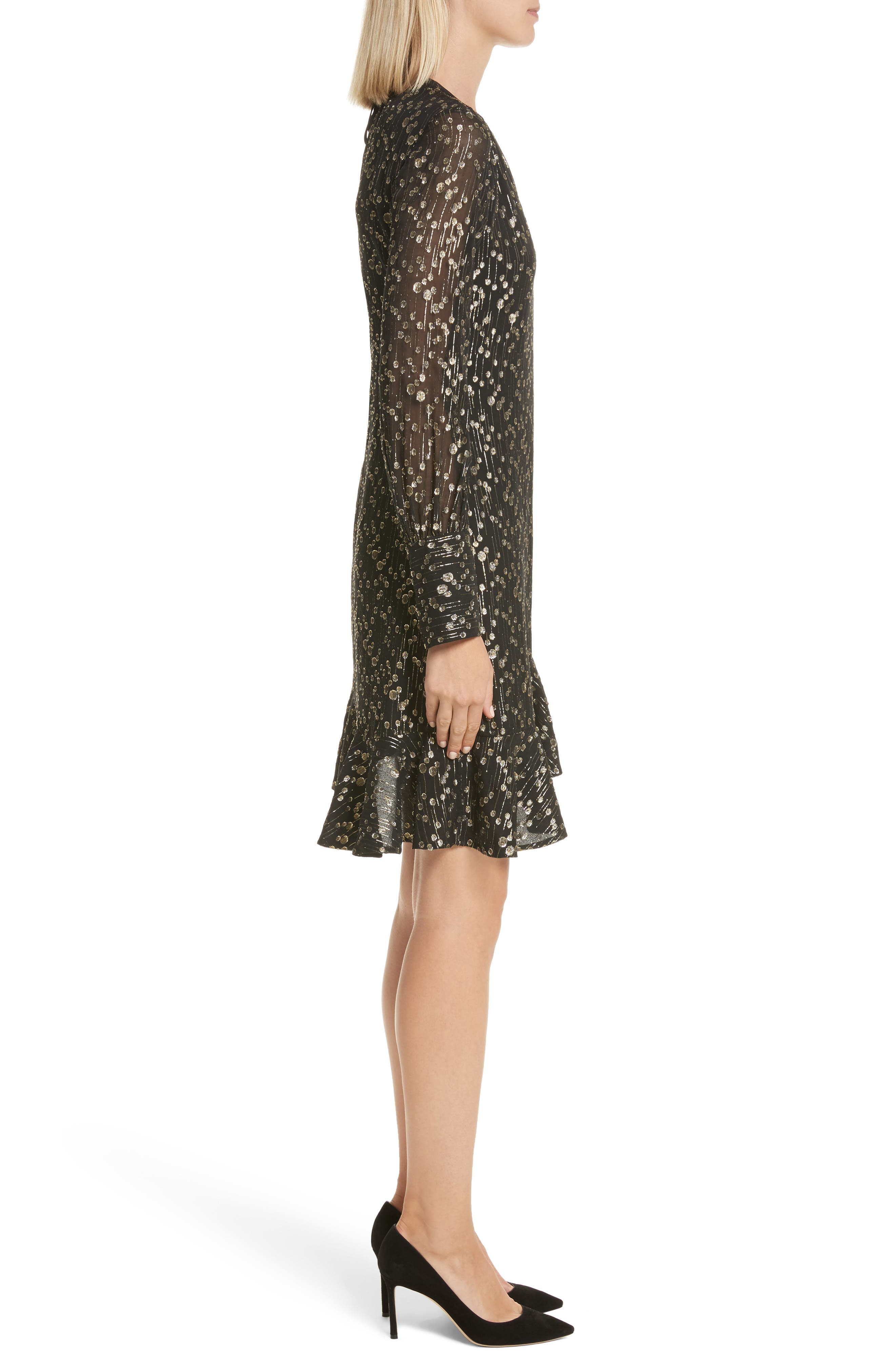 Metallic Dot Asymmetrical Ruffle Dress,                             Alternate thumbnail 3, color,                             001