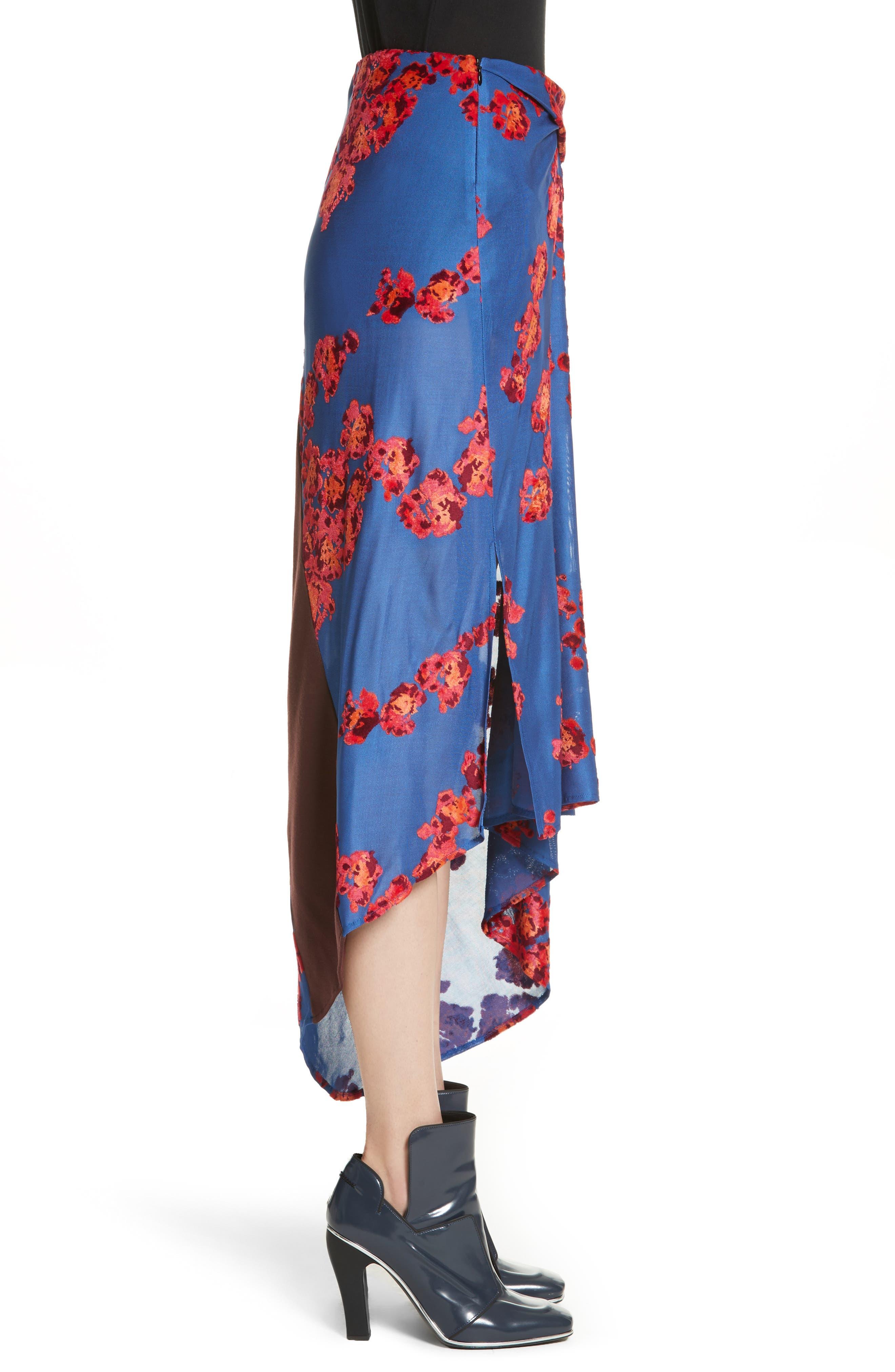 Jacquard Jersey Asymmetrical Skirt,                             Alternate thumbnail 3, color,                             400