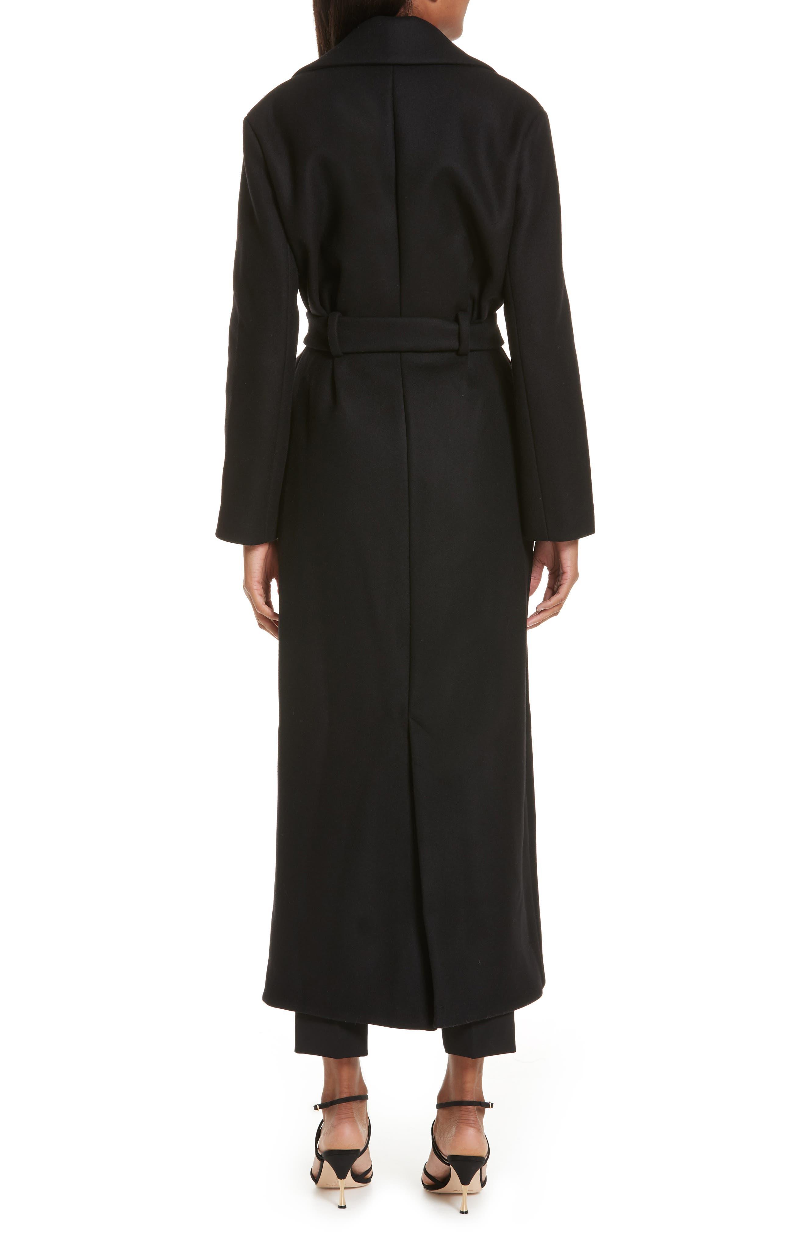 Le Manteau Aissa Belted Wool Blend Coat,                             Alternate thumbnail 2, color,                             001