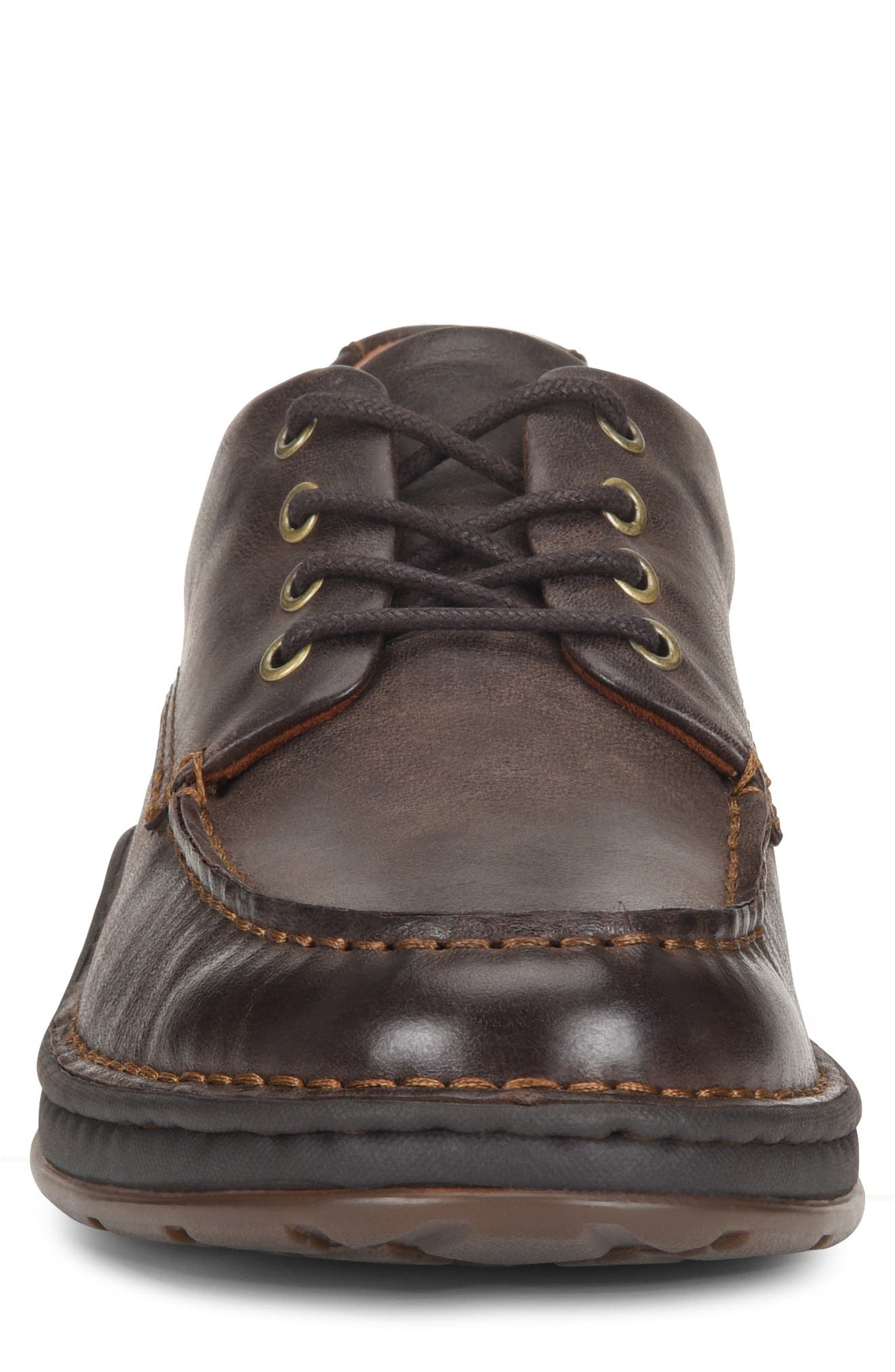 Leon Moc Toe Derby,                             Alternate thumbnail 4, color,                             DARK BROWN LEATHER