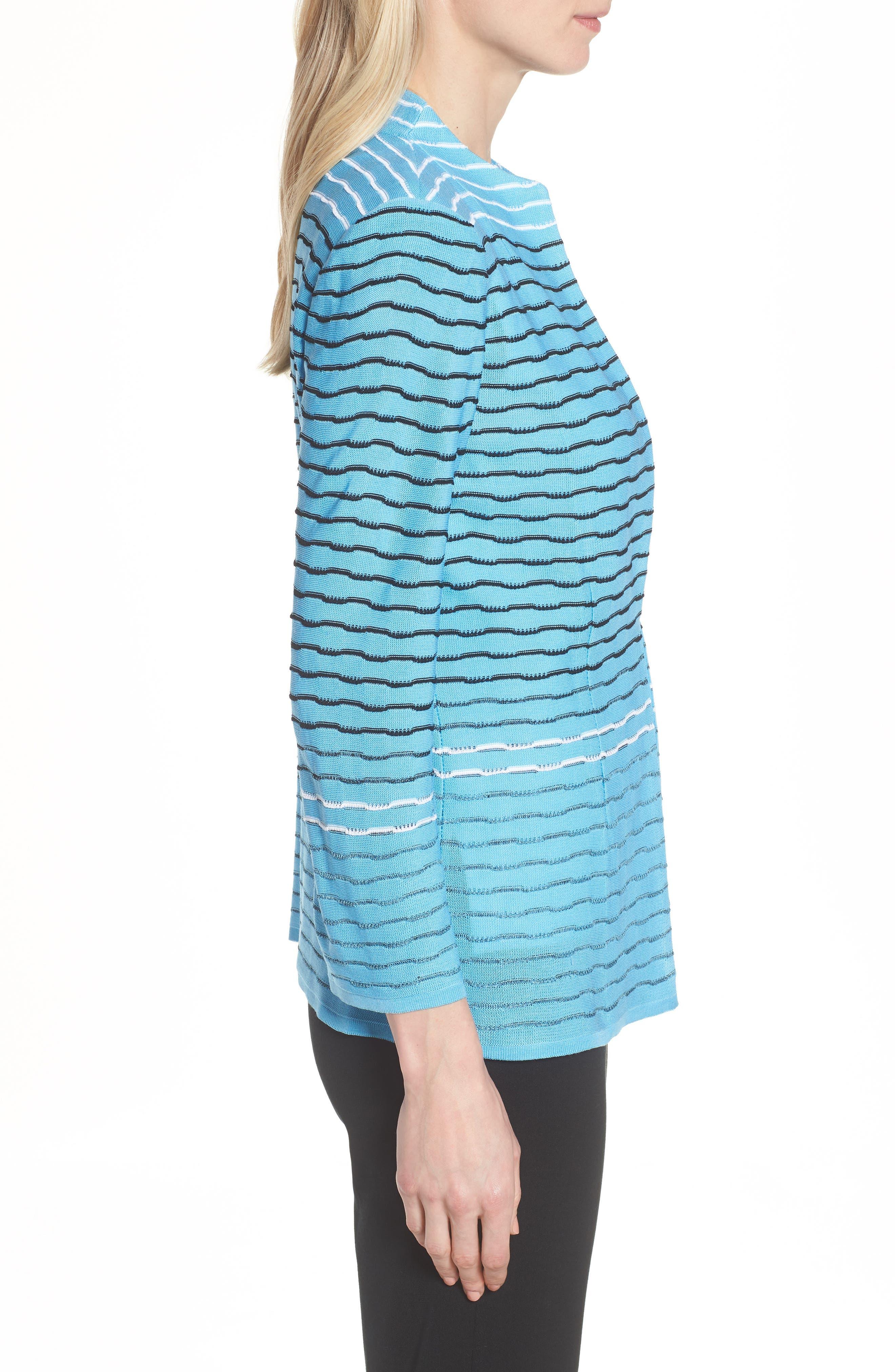 Jacquard Knit Jacket,                             Alternate thumbnail 3, color,                             BLUEBONNET/ BLACK/ WHITE