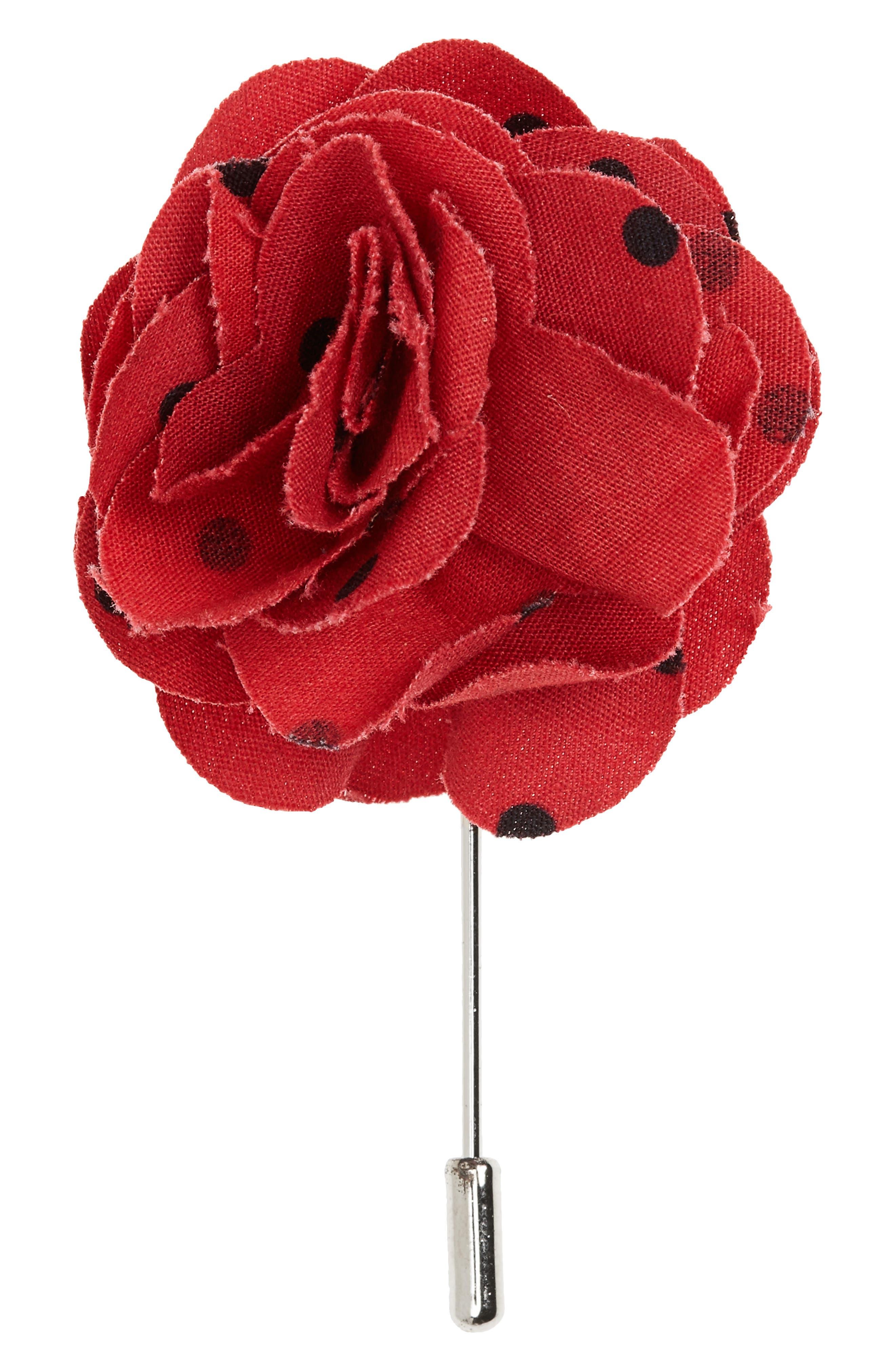 Dots Cotton Lapel Flower,                             Main thumbnail 2, color,