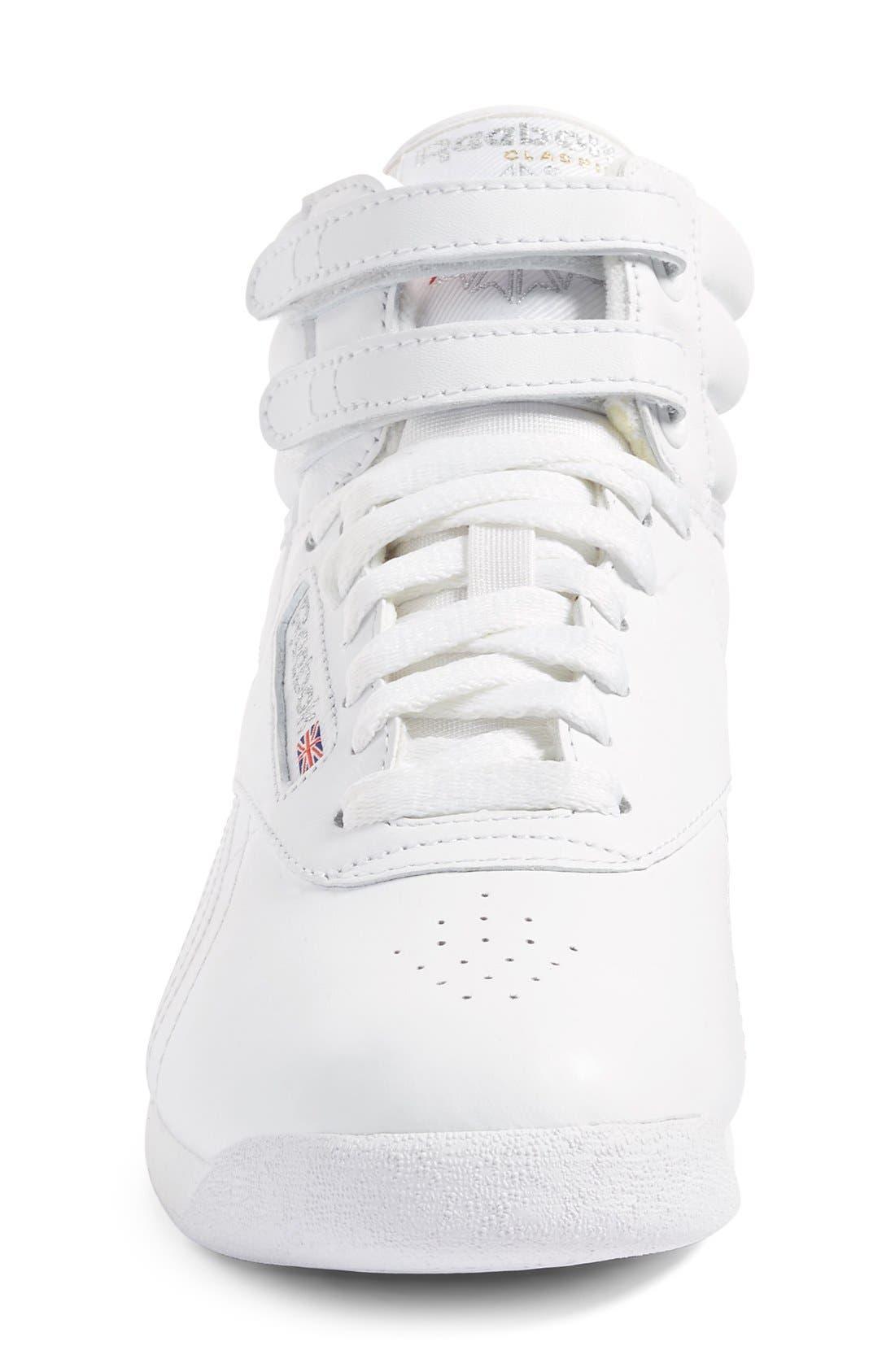 'Freestyle Hi' Sneaker,                             Alternate thumbnail 3, color,                             WHITE/ SILVER