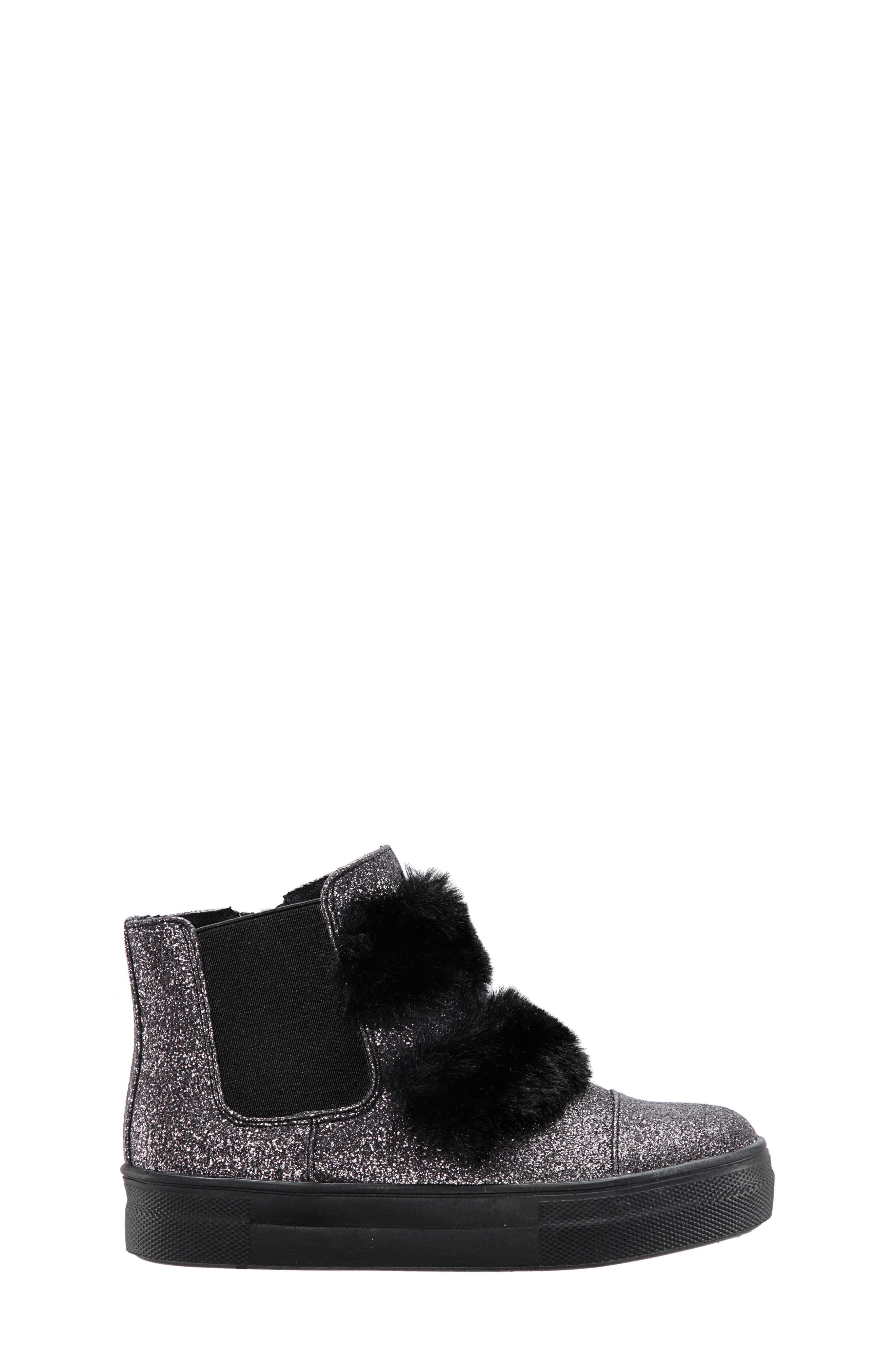 Helen Faux Fur Bootie Sneaker,                             Alternate thumbnail 3, color,                             PEWTER CRACKLE METALLIC
