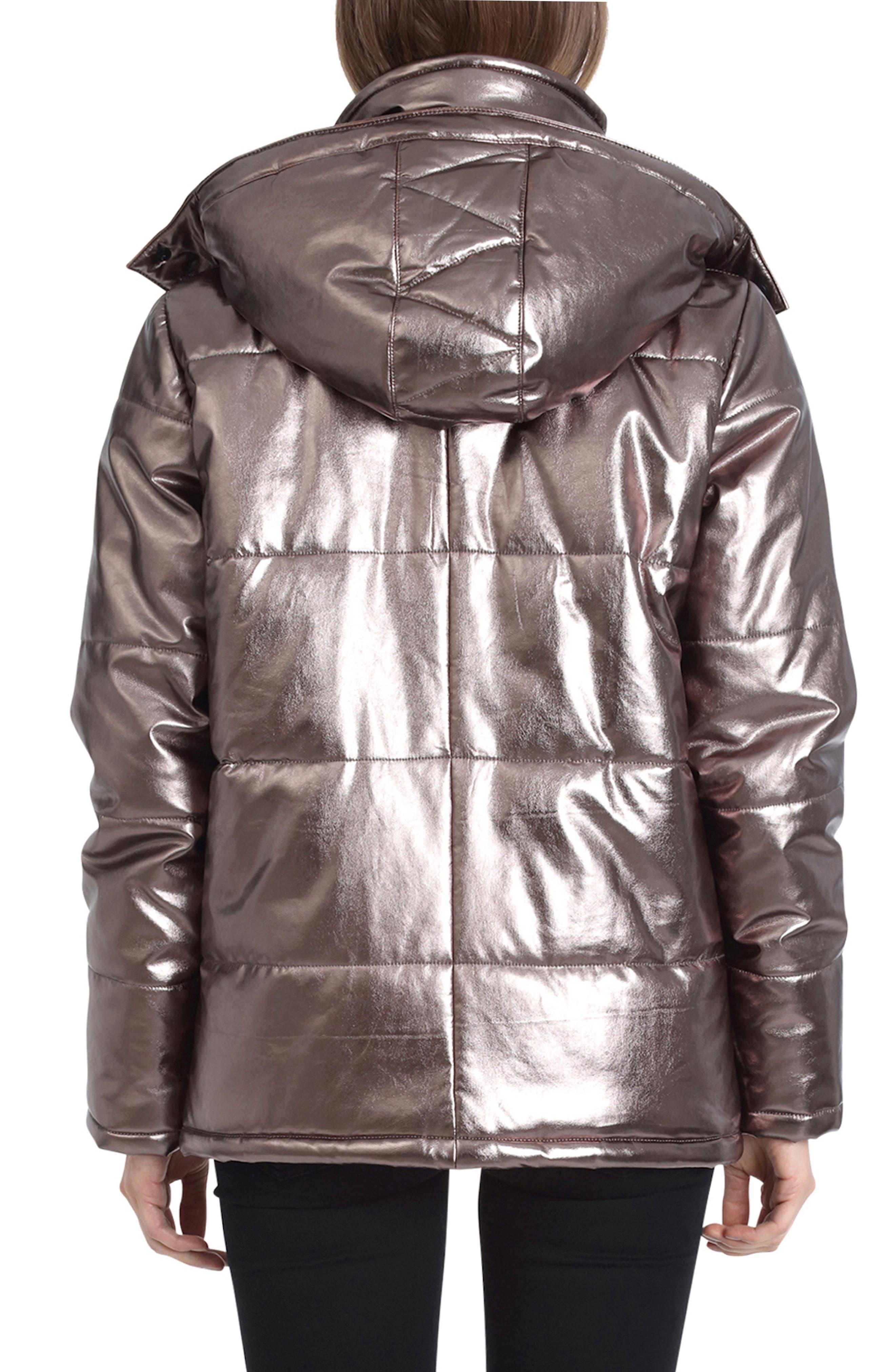 Metallic Puffer Coat,                             Alternate thumbnail 2, color,                             BRONZE