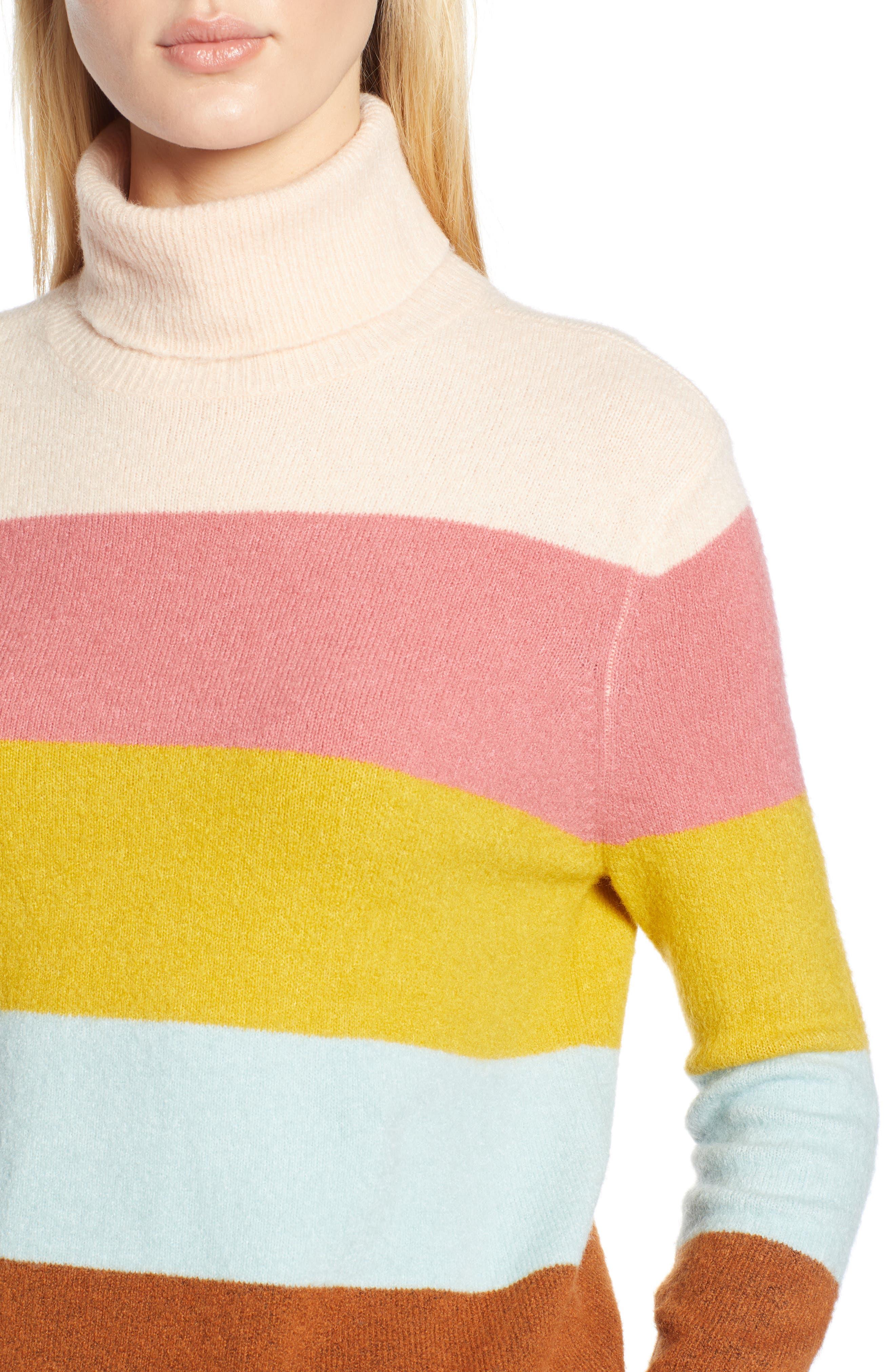 x Atlantic-Pacific Stripe Turtleneck Sweater,                             Alternate thumbnail 5, color,                             PINK MULTI STRIPE