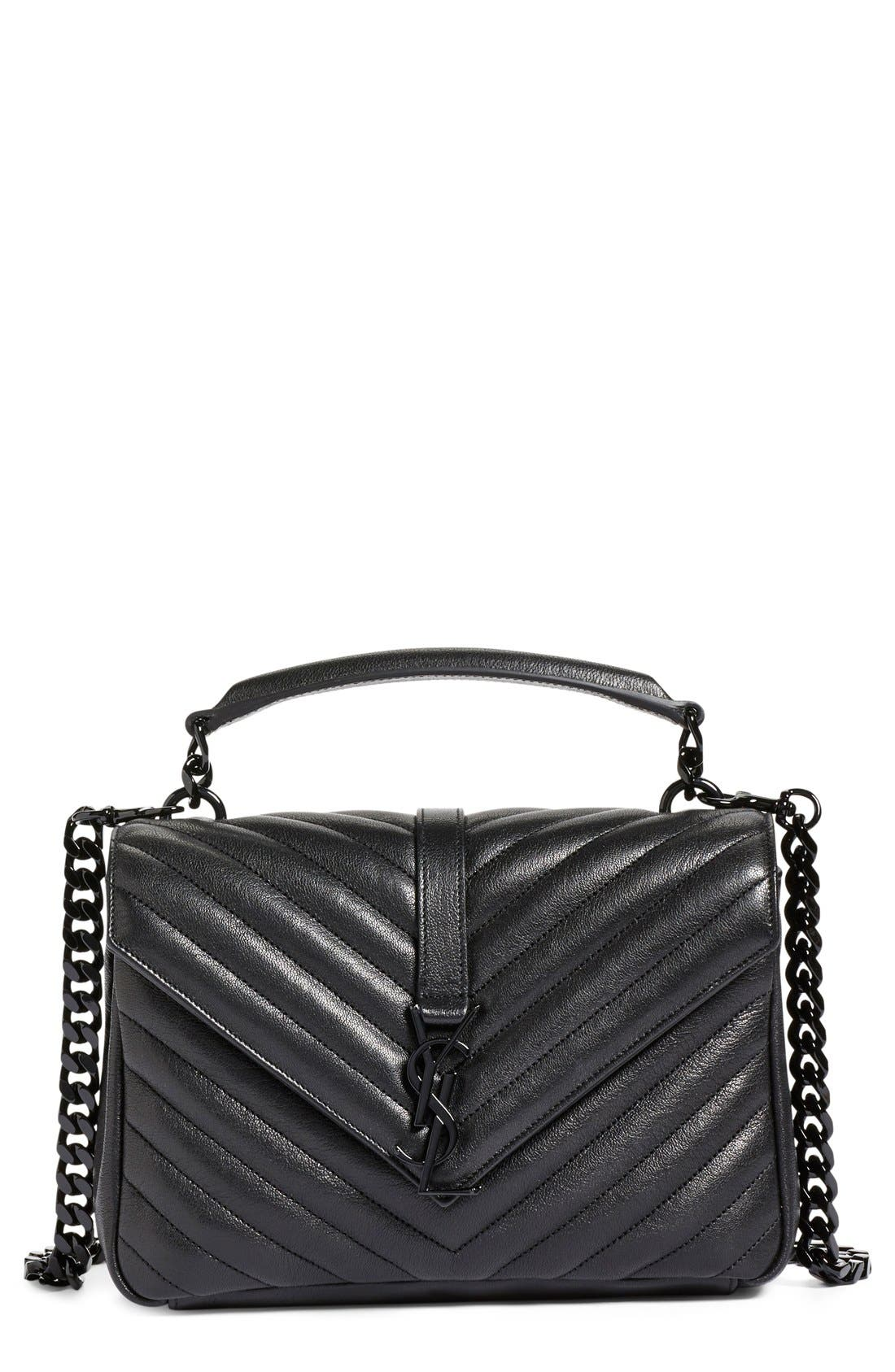 'Medium College' Quilted Leather Shoulder Bag,                             Main thumbnail 1, color,                             001