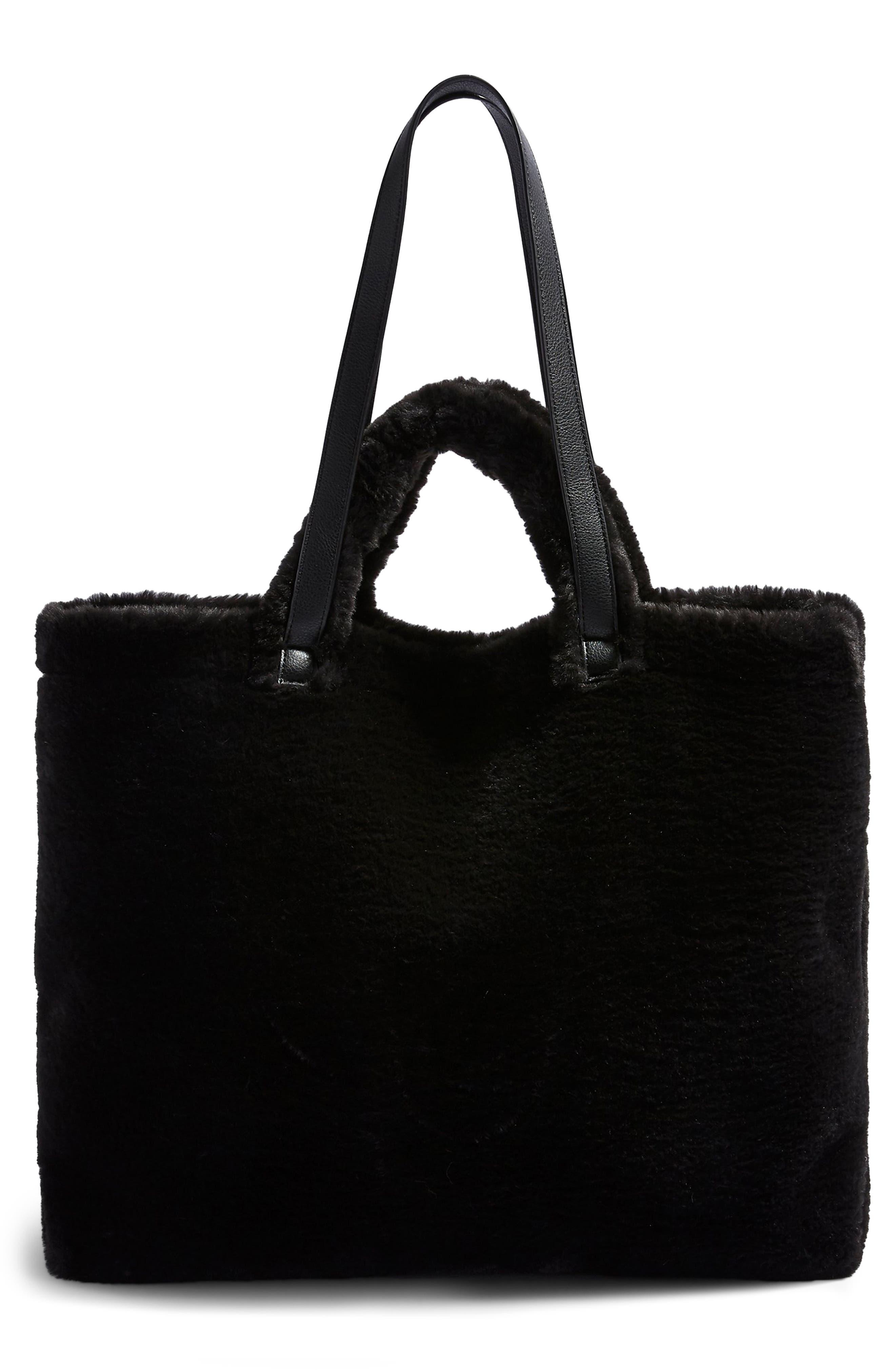 Finley Reversible Faux Fur Tote Bag,                         Main,                         color, BLACK