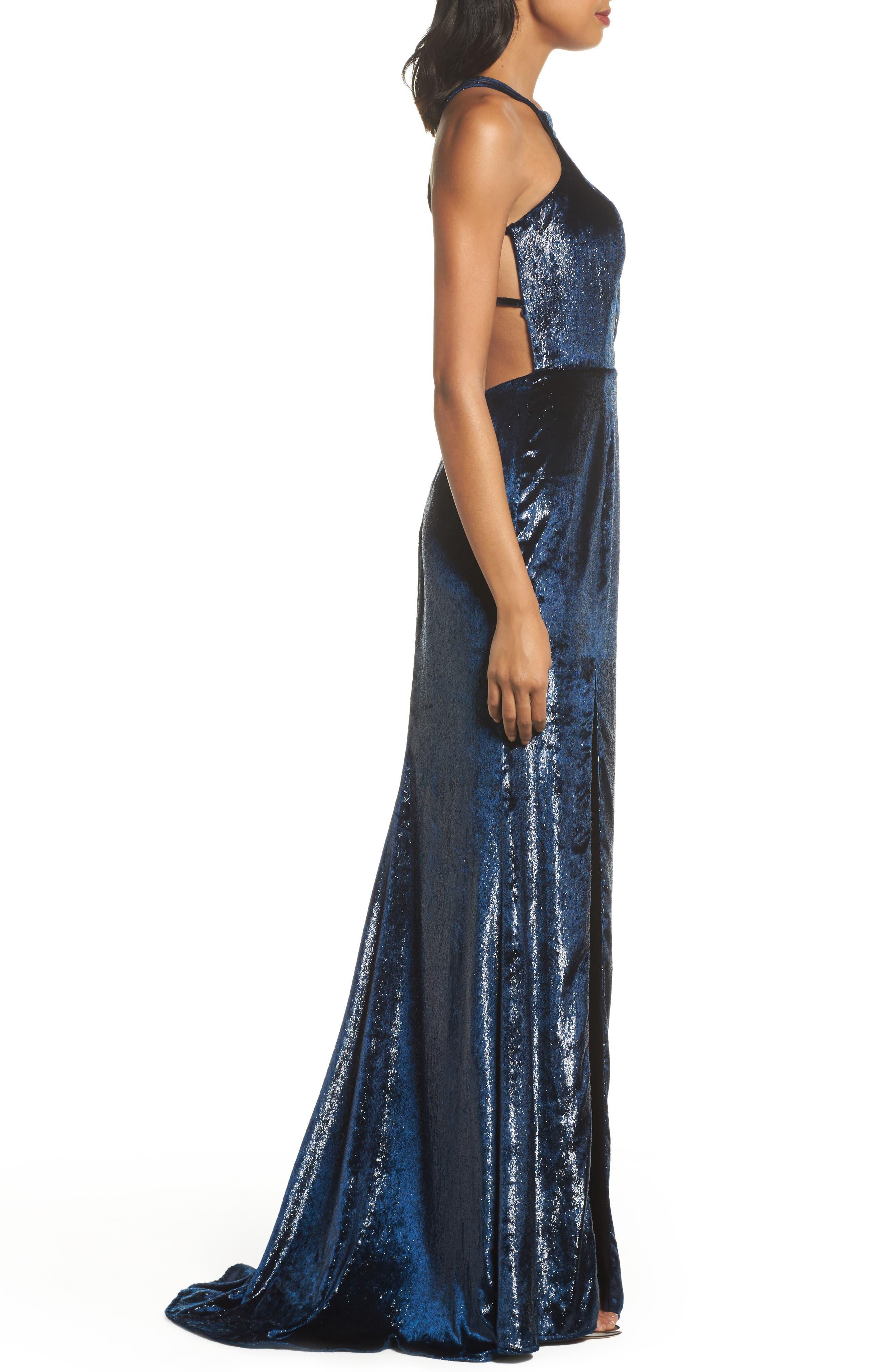 Open Back Textured Velvet Gown,                             Alternate thumbnail 3, color,                             NAVY