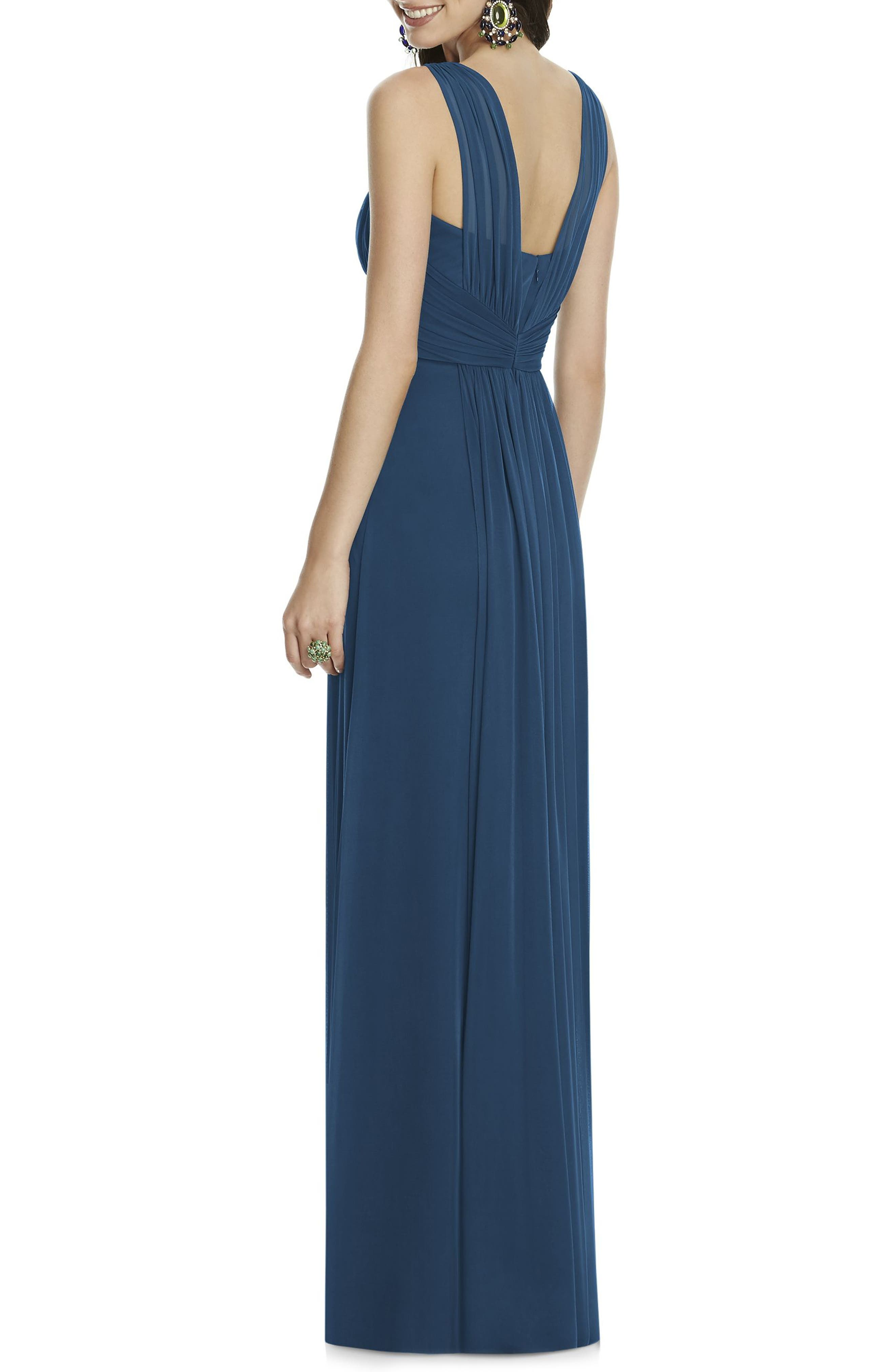 Illusion Sleeve Chiffon Column Gown,                             Alternate thumbnail 3, color,