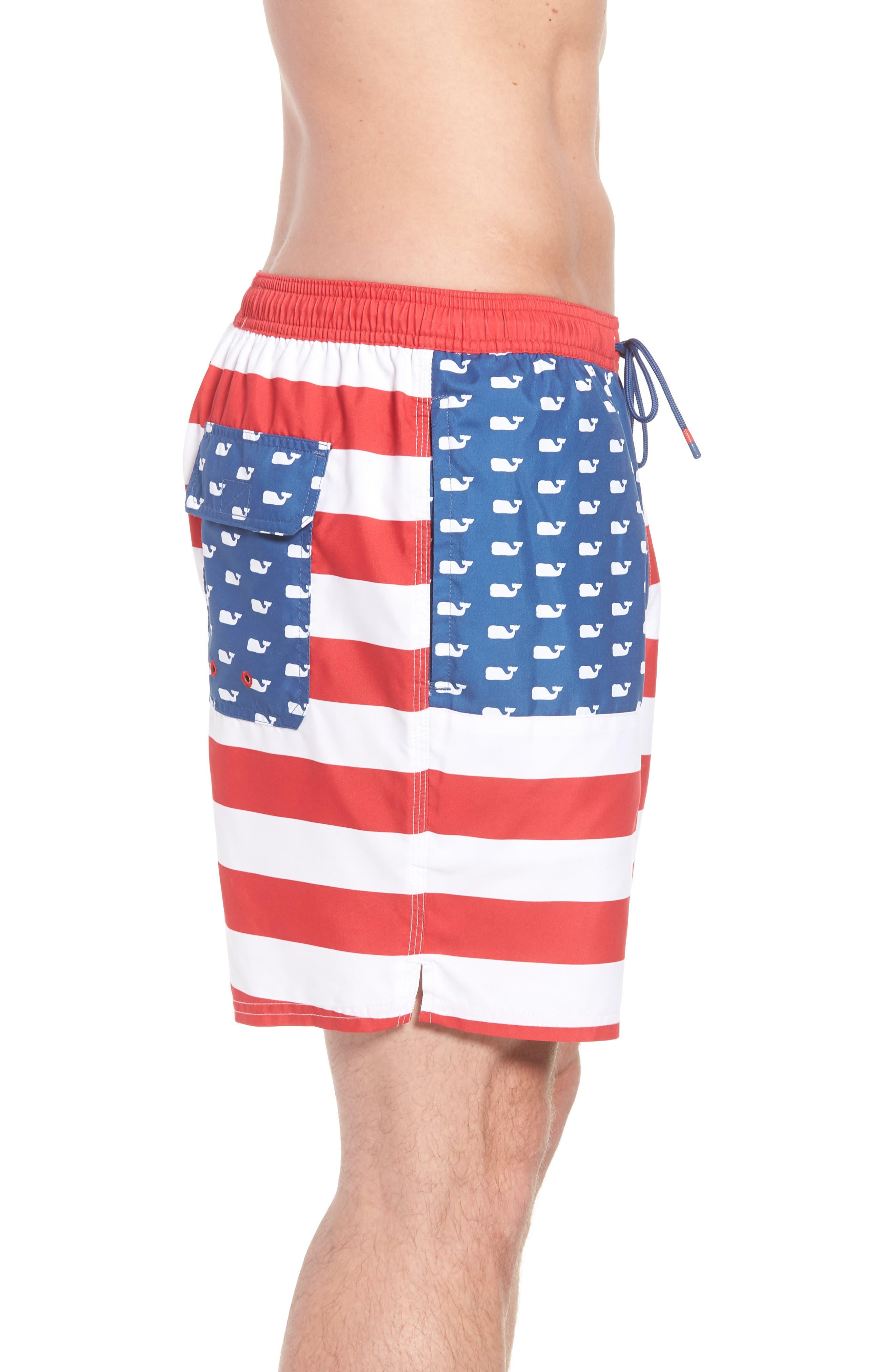 Chappy USA Flag Swim Trunks,                             Alternate thumbnail 3, color,                             461