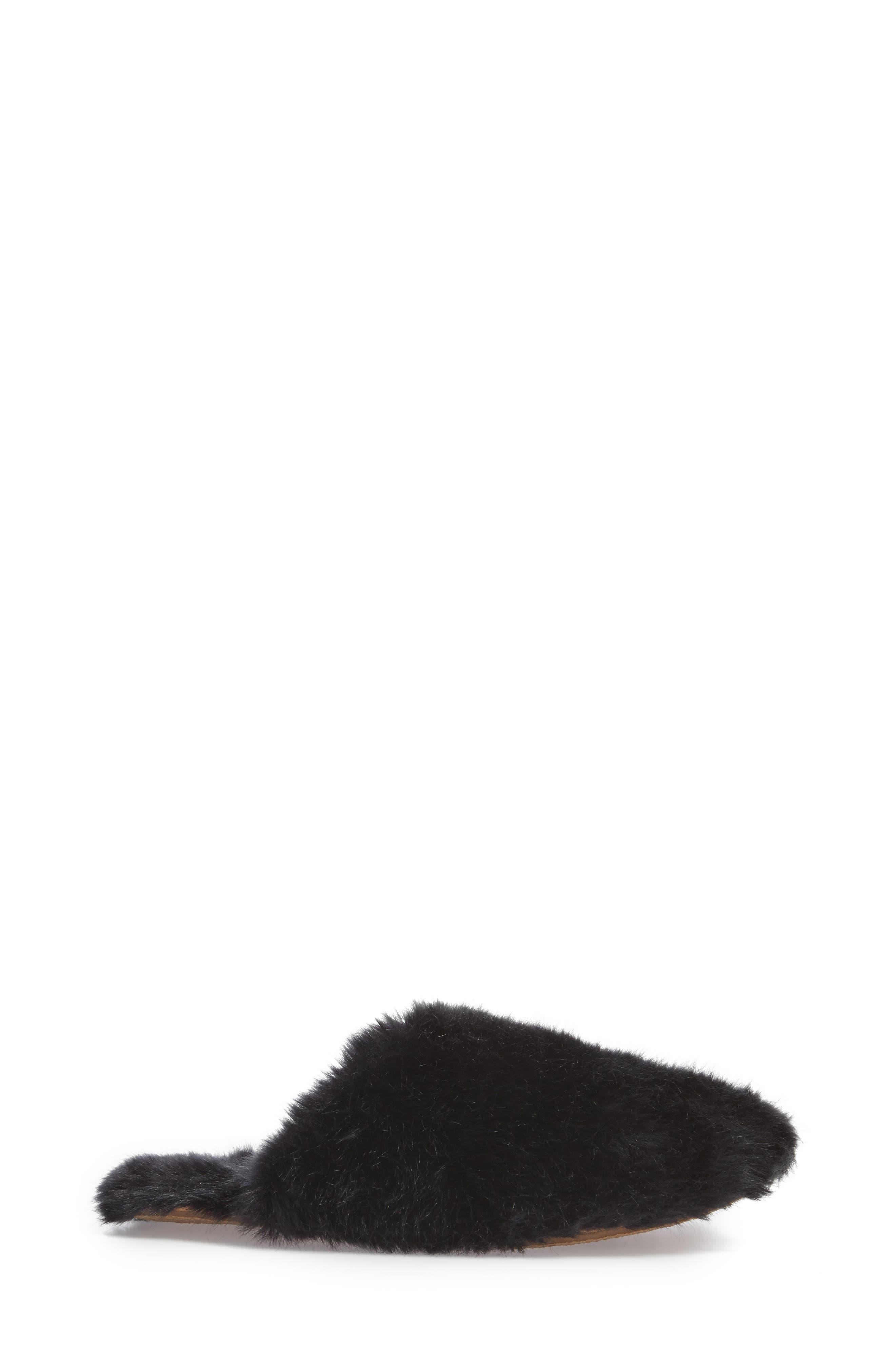 Faux Fur Slipper,                             Alternate thumbnail 3, color,                             BLACK