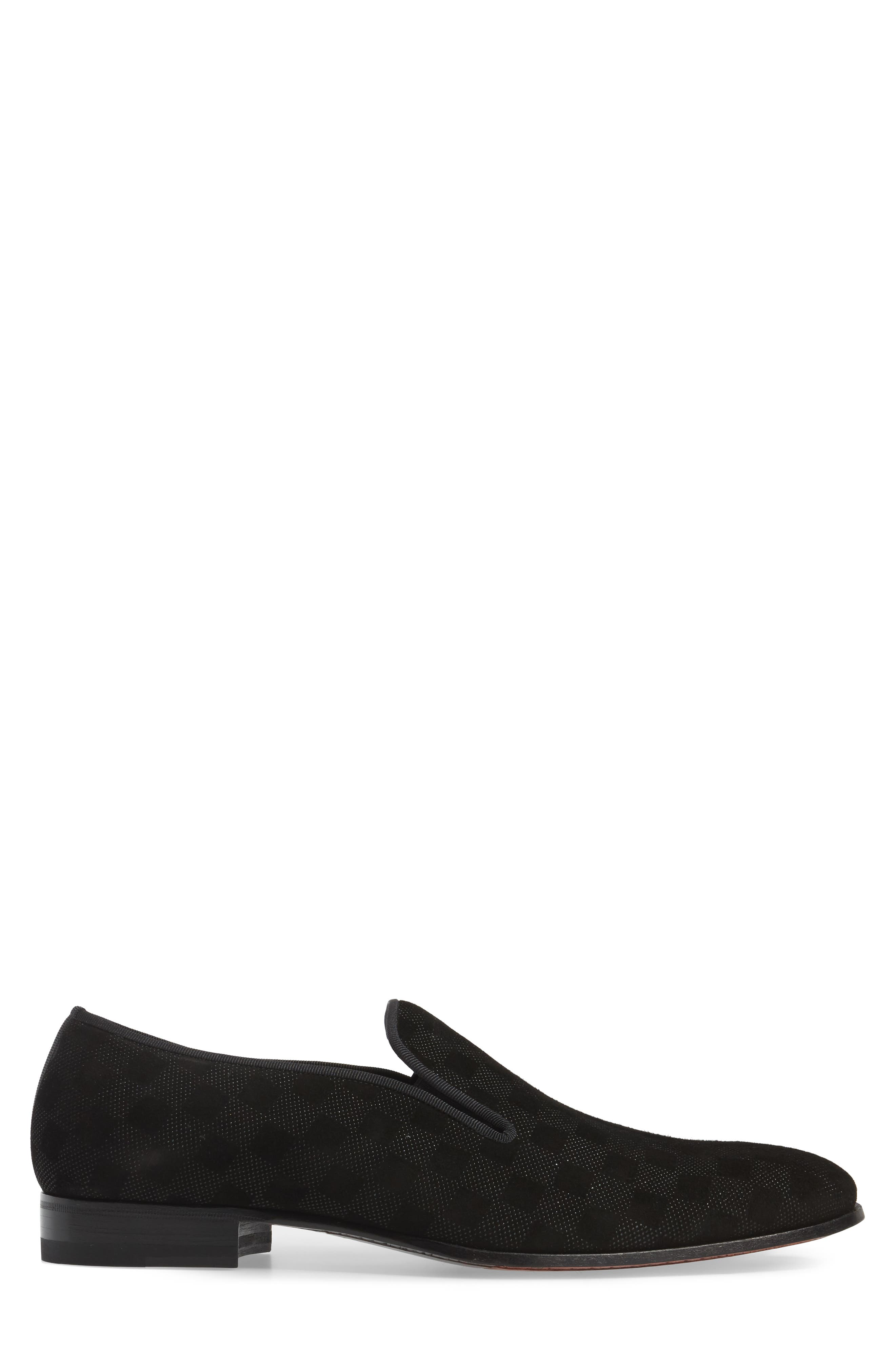 Gustave Textured Venetian Loafer,                             Alternate thumbnail 3, color,                             BLACK LEATHER
