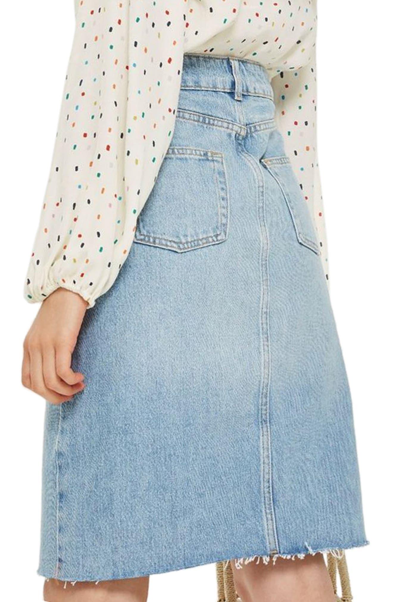 Denim Midi Skirt,                             Alternate thumbnail 2, color,                             MID DENIM