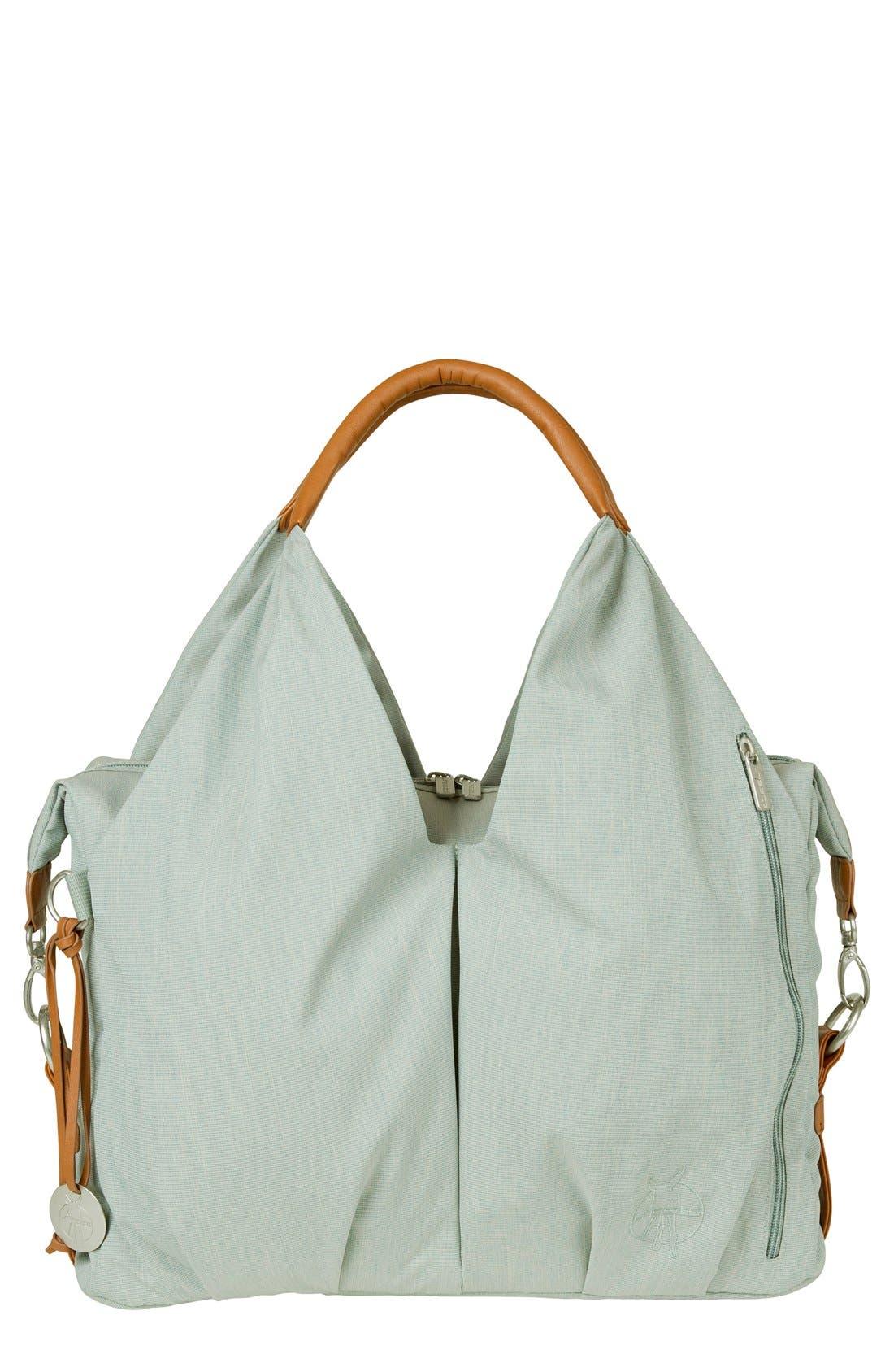 'Green Label - Neckline' Diaper Bag,                             Main thumbnail 1, color,                             SKY BLUE/ BROWN