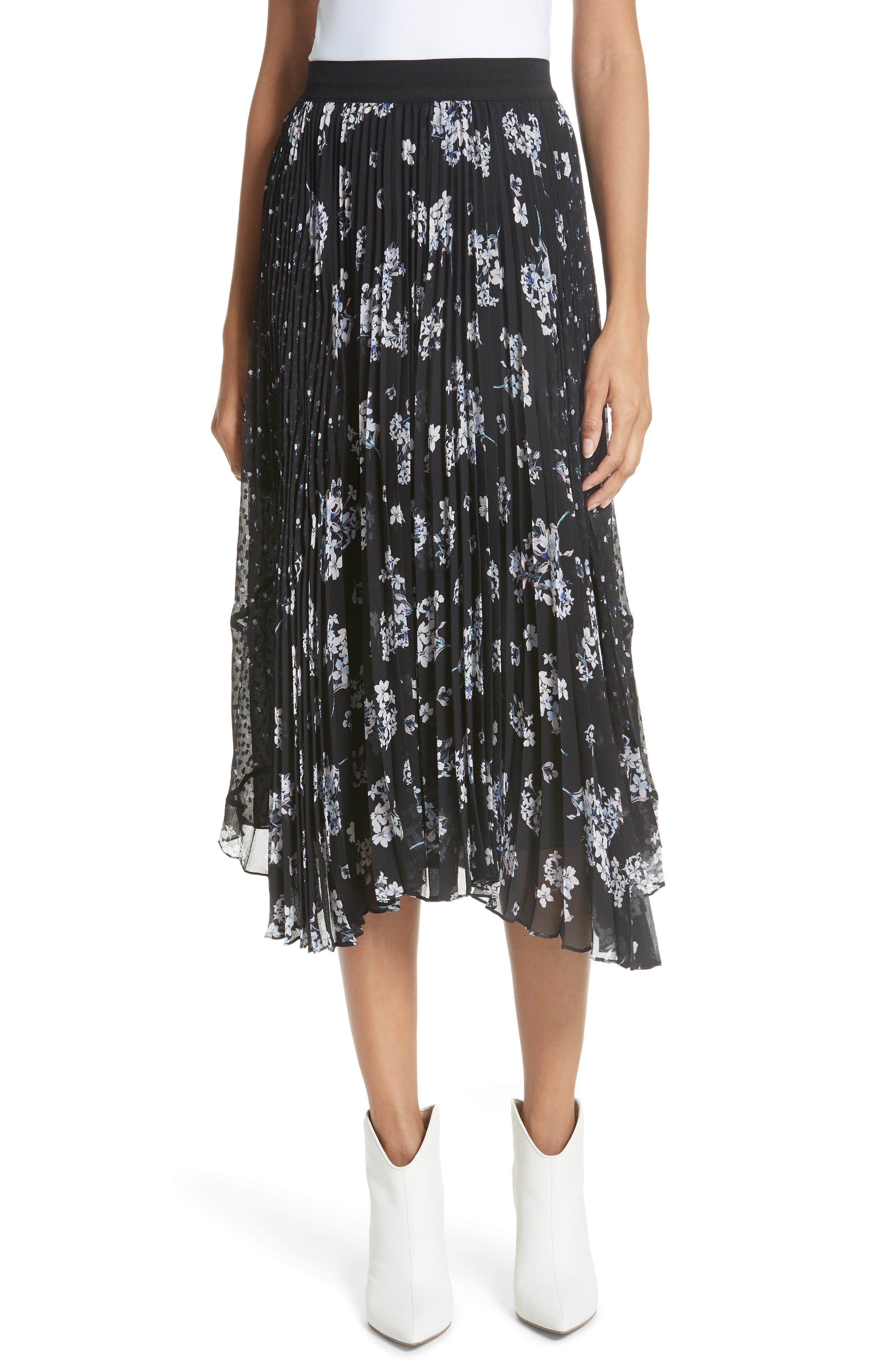 Pleated Hydrangea Skirt,                             Main thumbnail 1, color,                             BLACK COMBO