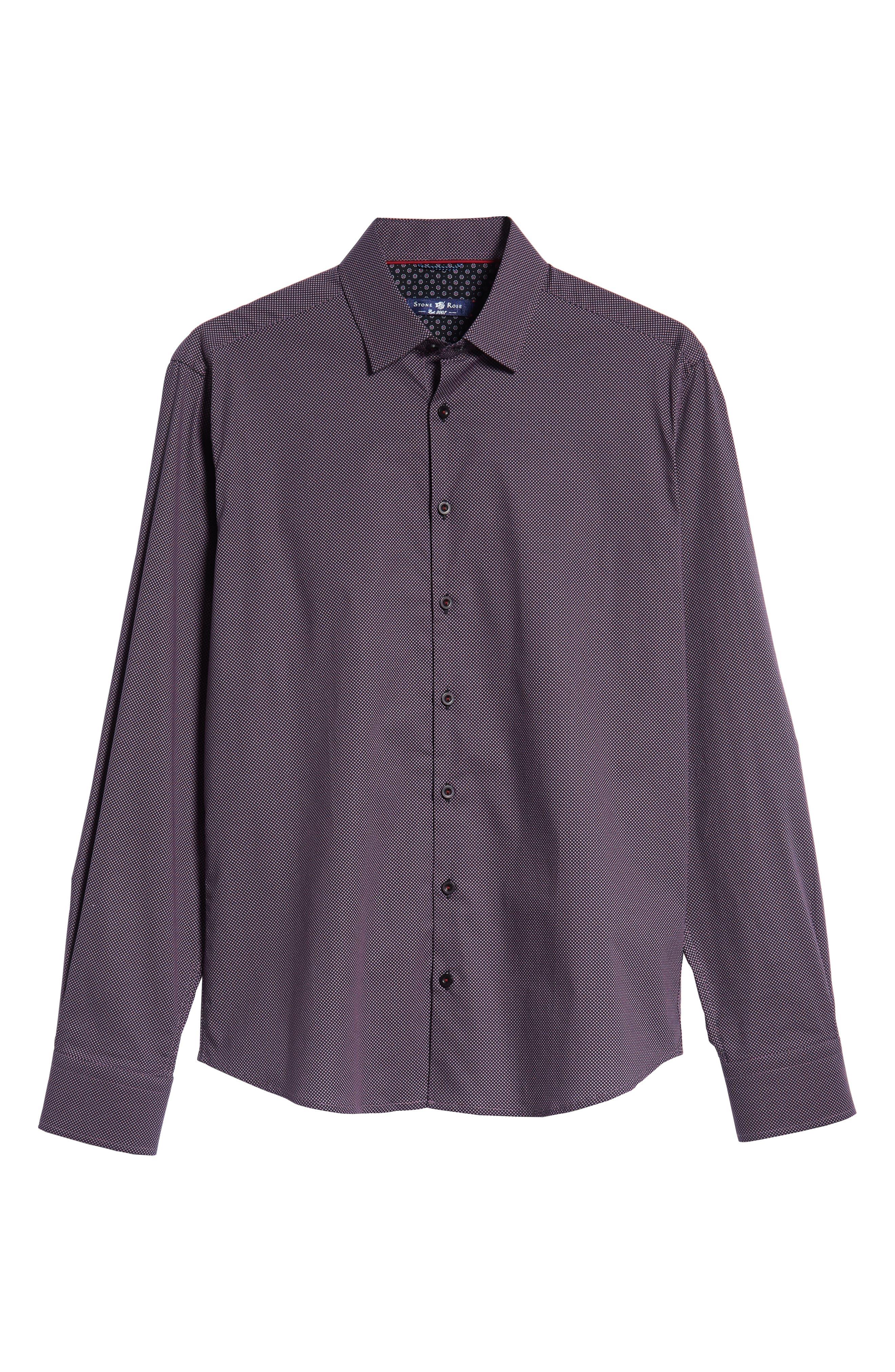 Regular Fit Microdot Sport Shirt,                             Alternate thumbnail 5, color,                             BLACK