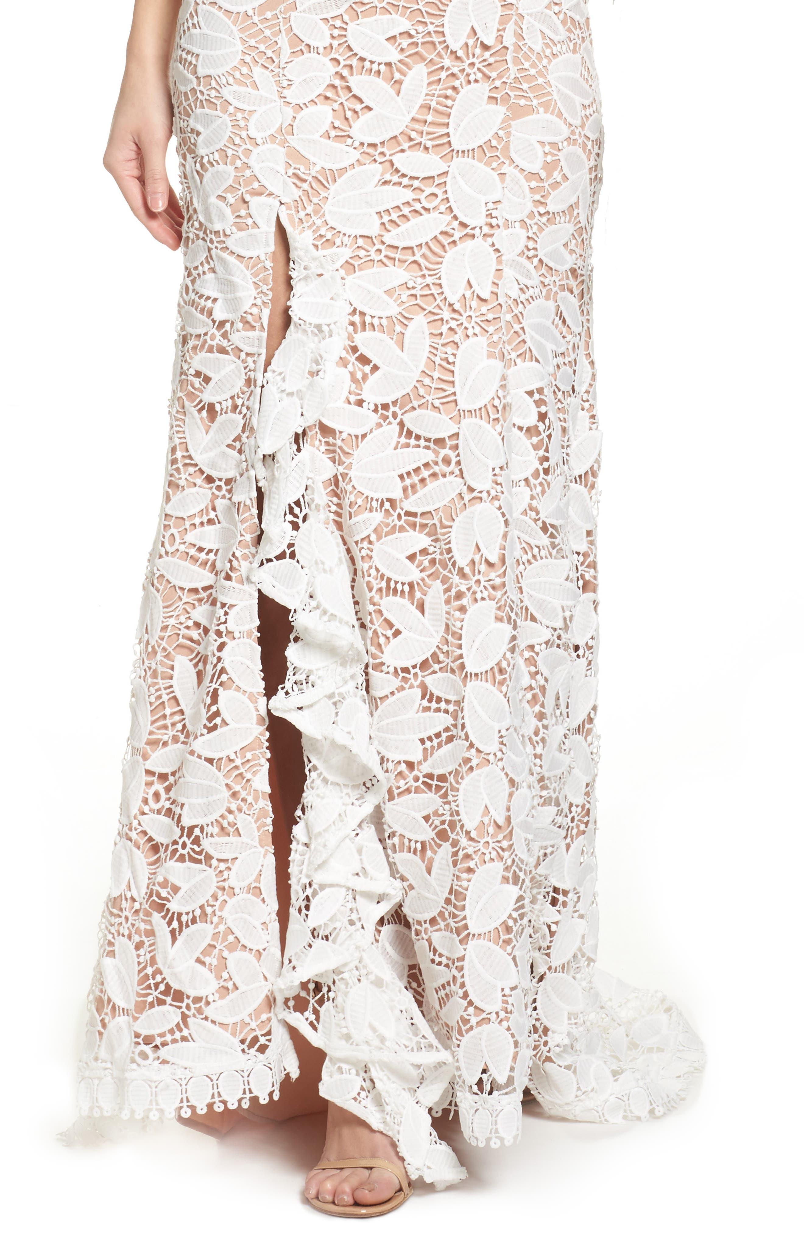 Petal Lace Gown,                             Alternate thumbnail 4, color,                             IVORY