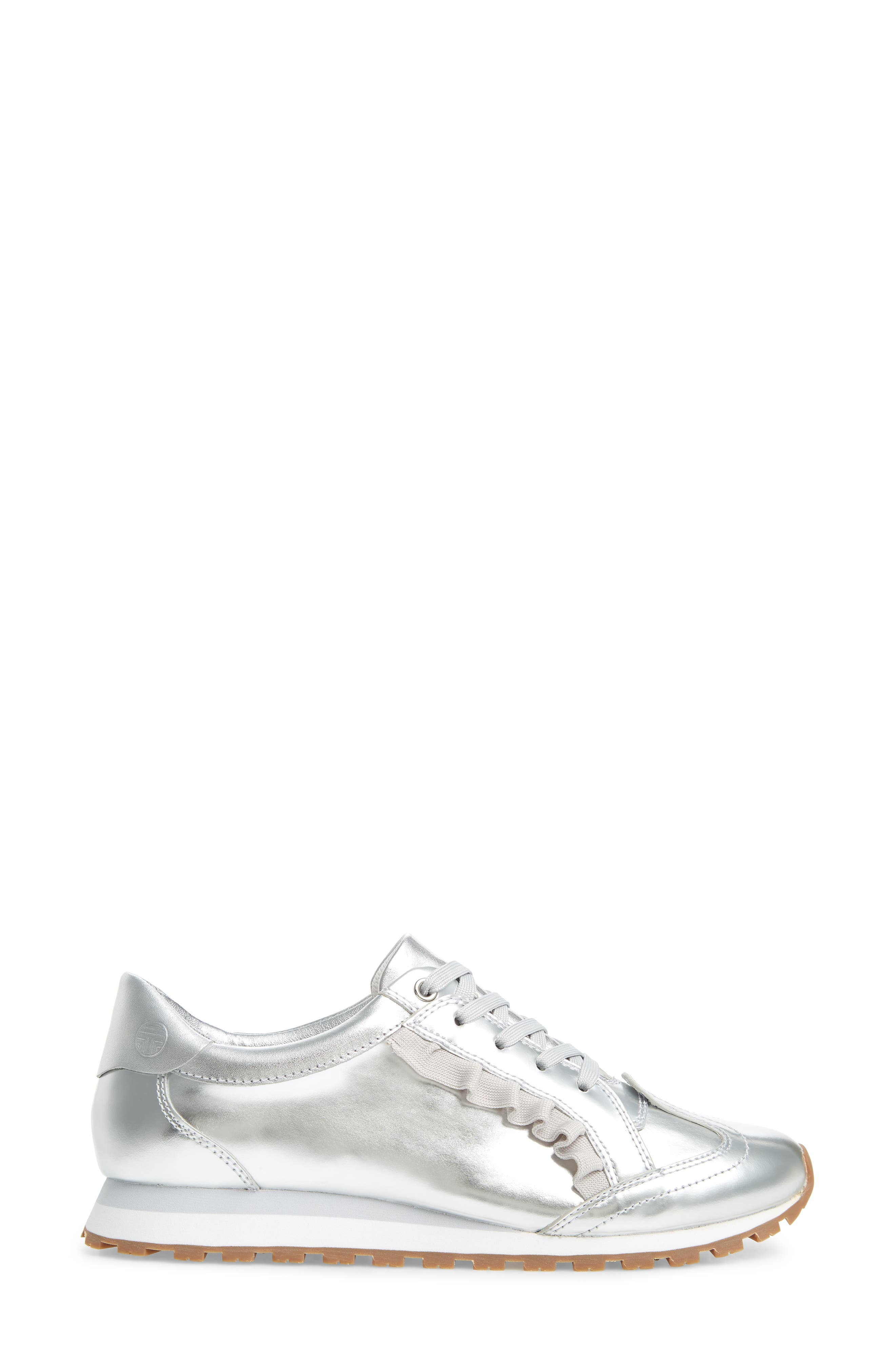 TORY SPORT,                             Ruffle Sneaker,                             Alternate thumbnail 3, color,                             SILVER/ GRAY