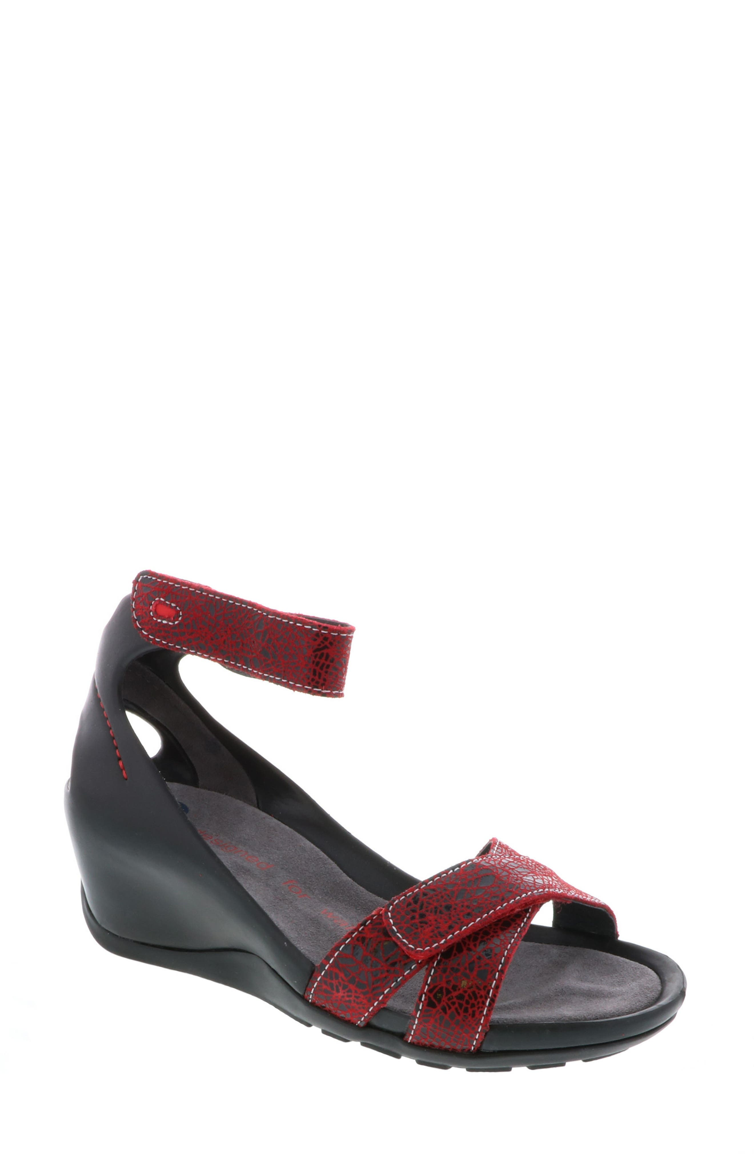 Do Wedge Sandal,                             Main thumbnail 1, color,                             RED SUEDE