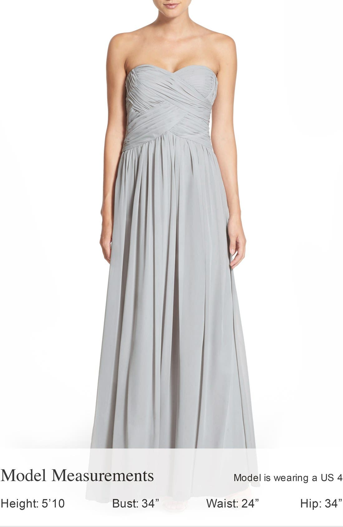 Strapless Ruched Chiffon Gown,                             Alternate thumbnail 6, color,                             021